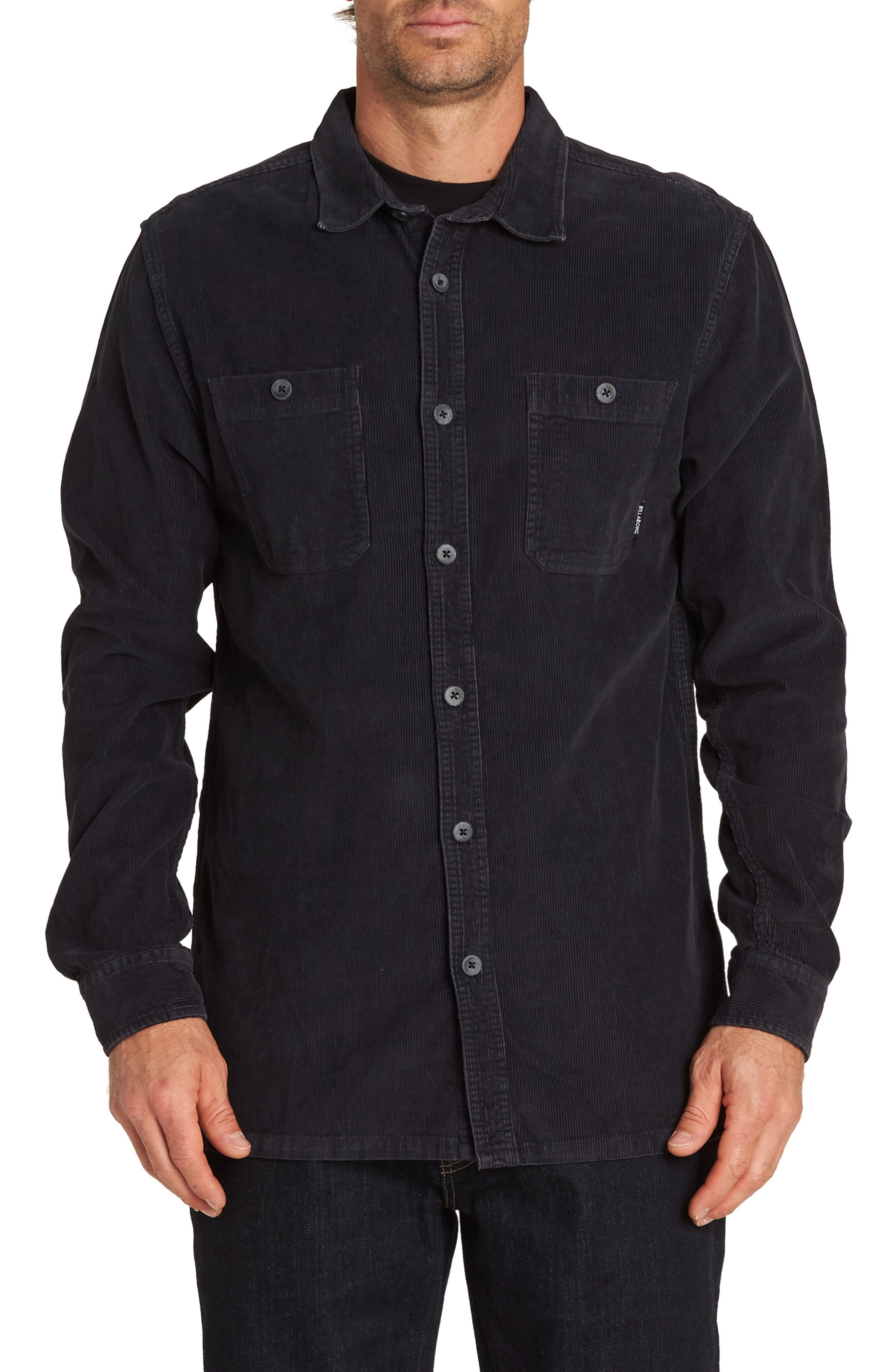 Wave Washed Corduroy Shirt,                         Main,                         color, BLACK