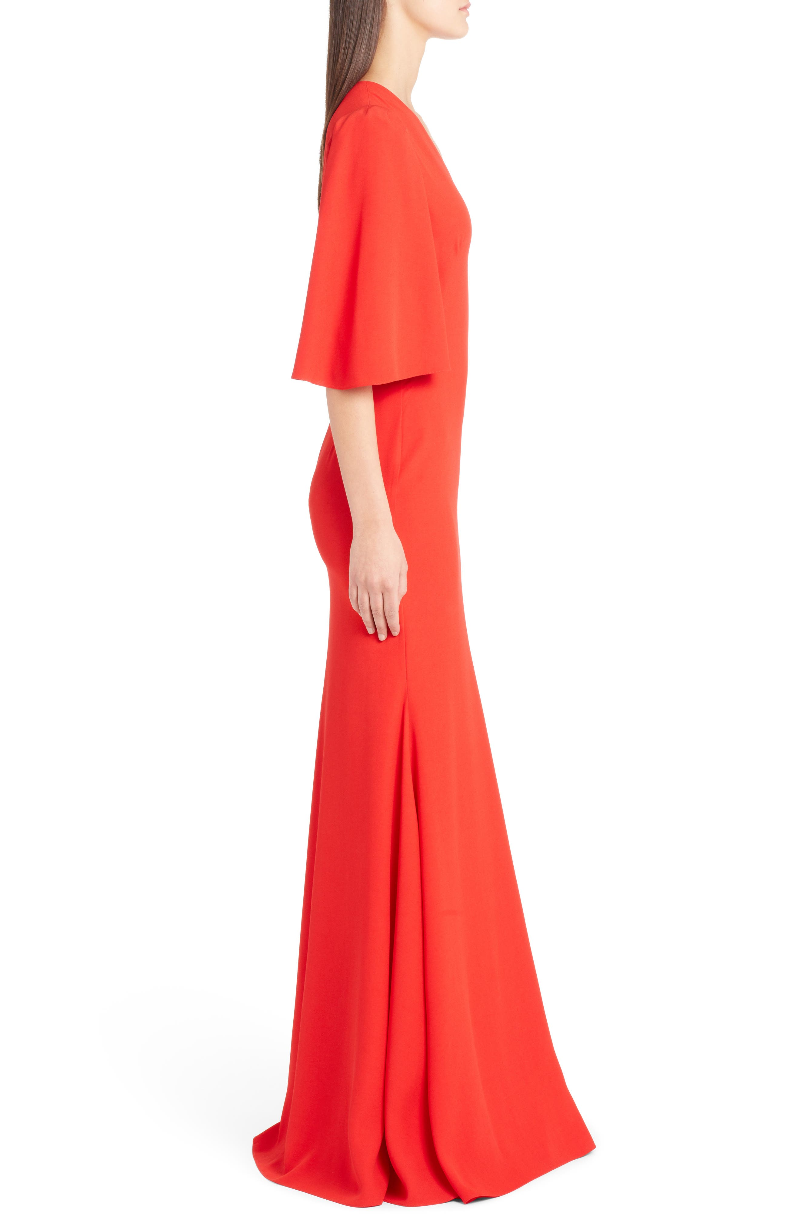 Cape Sleeve Satin Crepe Gown,                             Alternate thumbnail 3, color,                             LUST RED