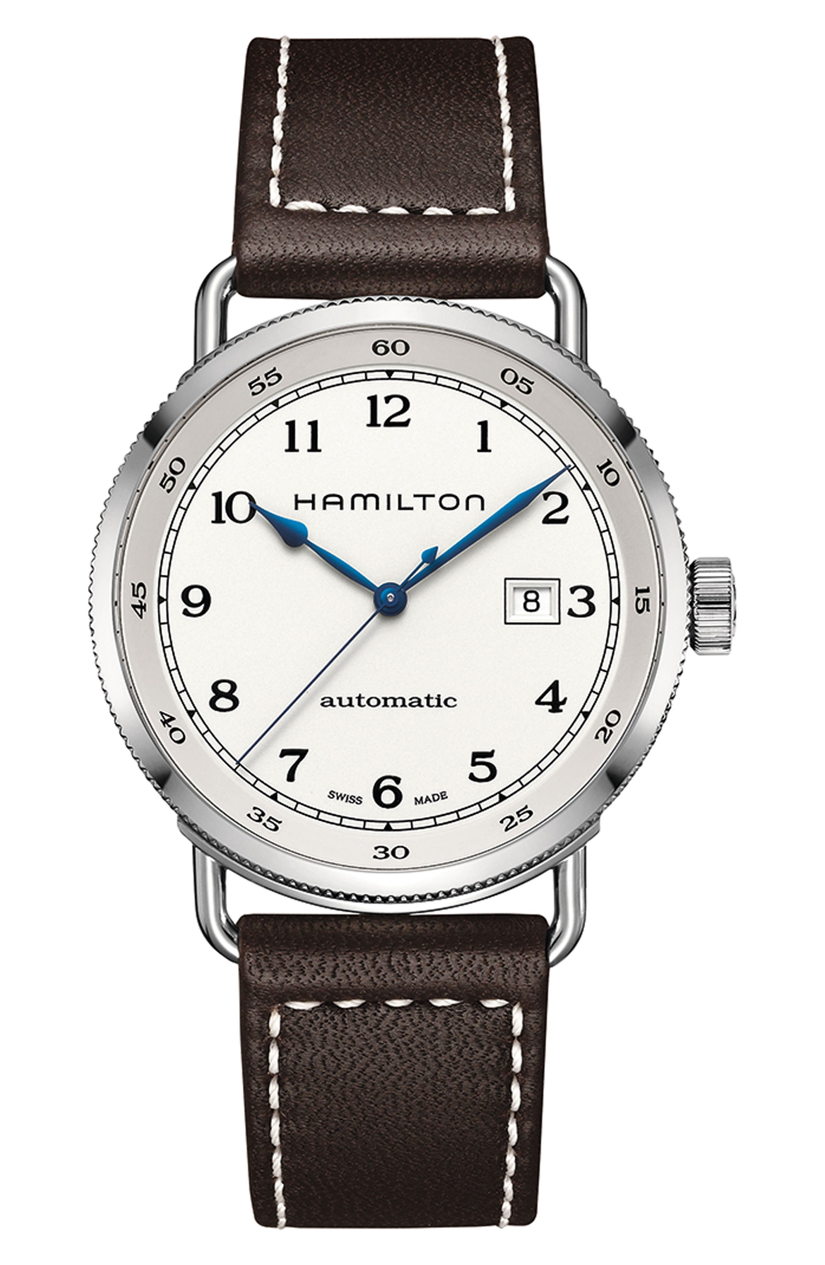 Khaki Automatic Leather Strap Watch, 43mm,                             Main thumbnail 1, color,                             BROWN/ SILVER