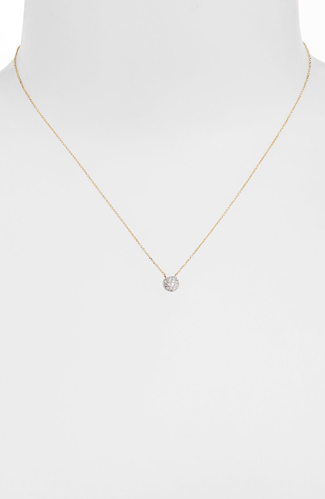 'Lauren Joy' Diamond Disc Pendant Necklace,                             Alternate thumbnail 7, color,                             YELLOW GOLD