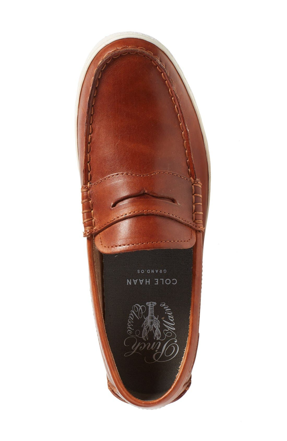'Pinch' Penny Loafer,                             Alternate thumbnail 4, color,                             BRITISH TAN ANTIQUE LEATHER