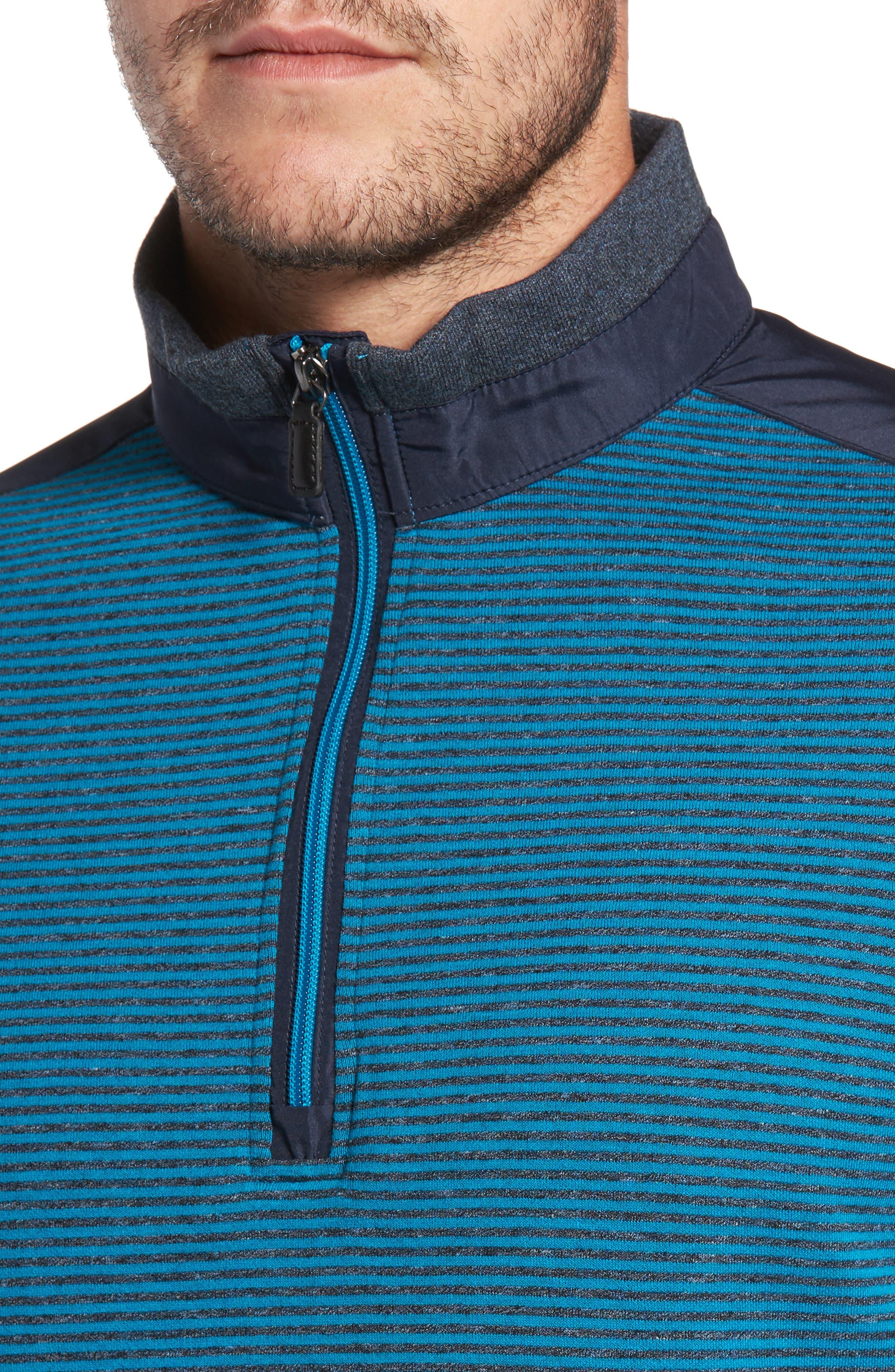 Classic Fit Striped Quarter Zip Pullover,                             Alternate thumbnail 4, color,                             445