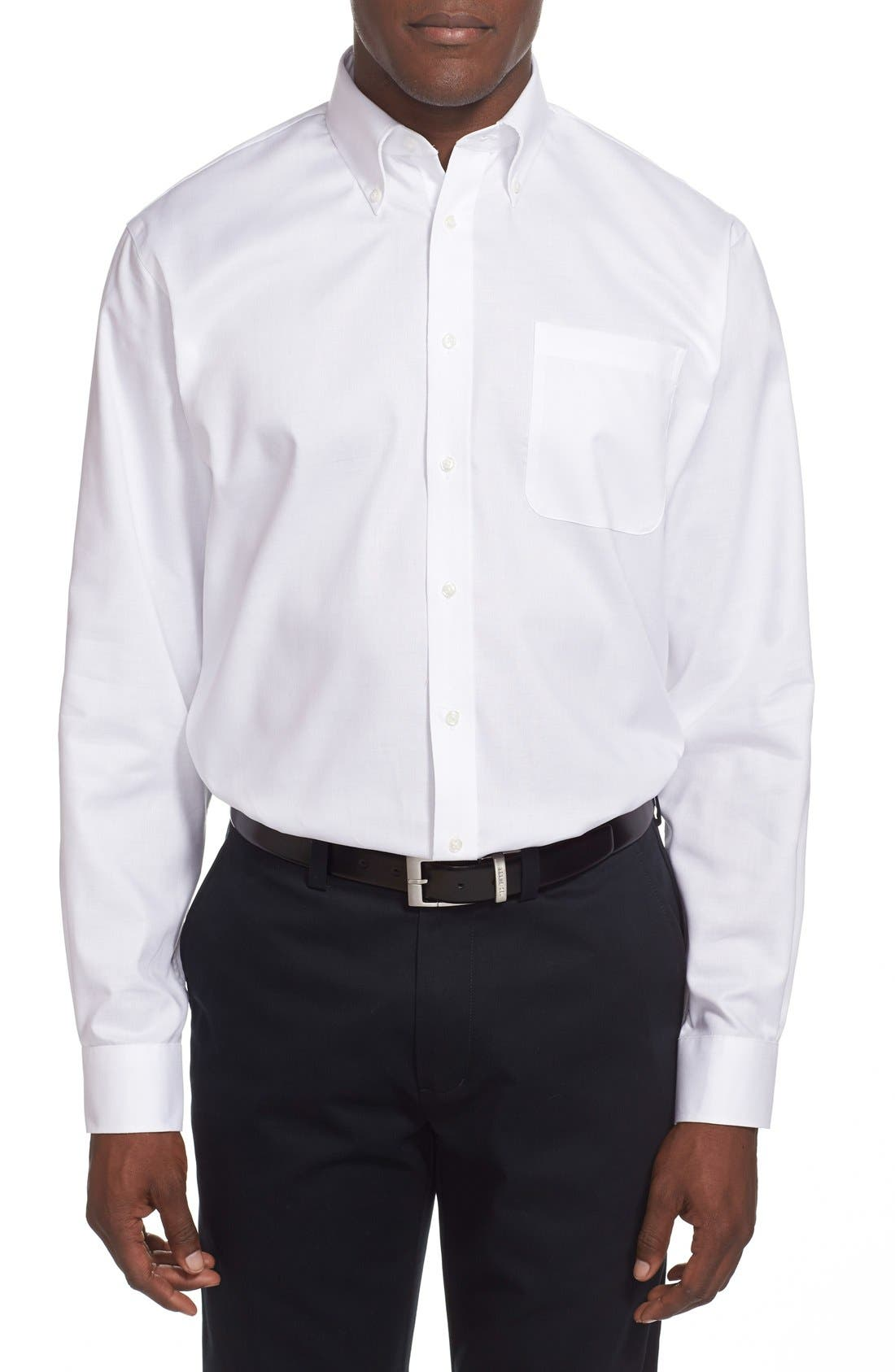 NORDSTROM MEN'S SHOP,                             Nordstrom Traditional Fit Non-Iron Dress Shirt,                             Alternate thumbnail 4, color,                             100