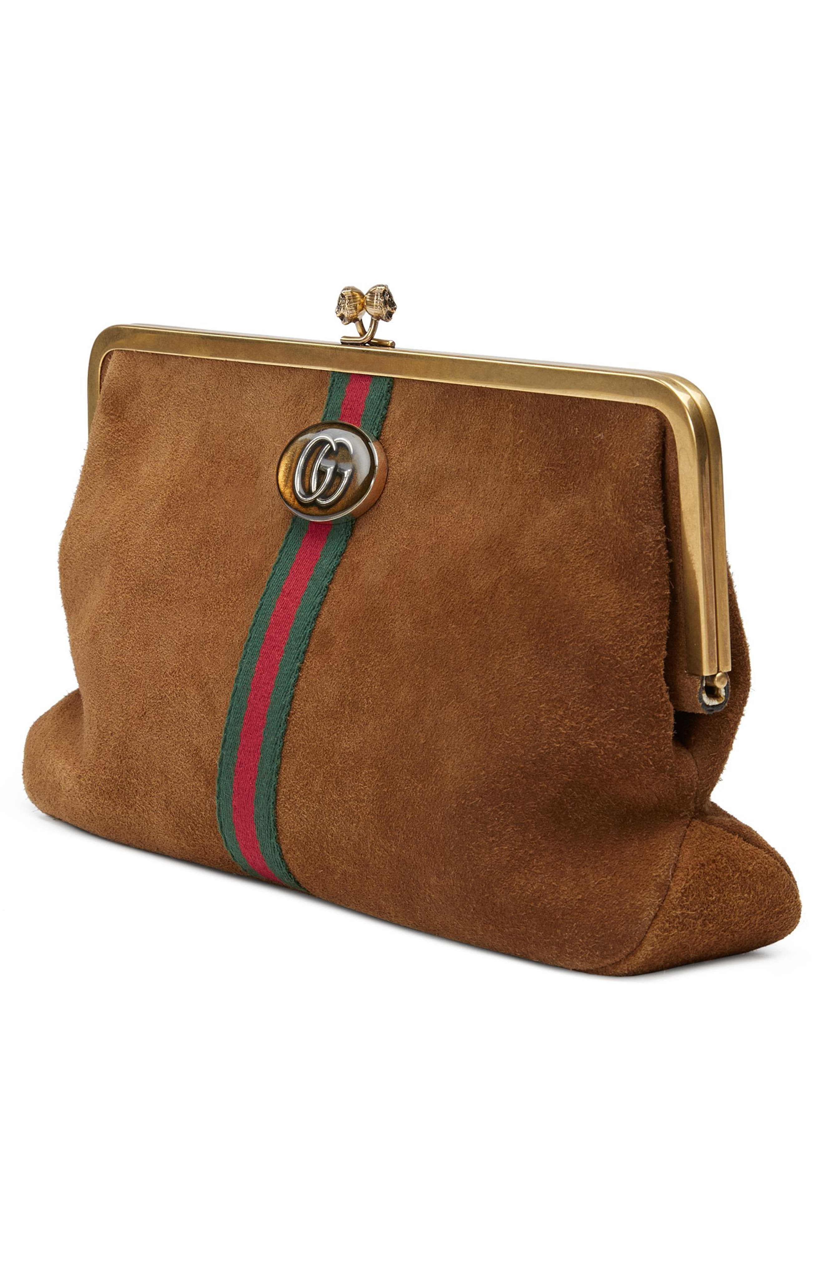 Ophidia Suede Frame Clutch,                             Alternate thumbnail 4, color,                             200