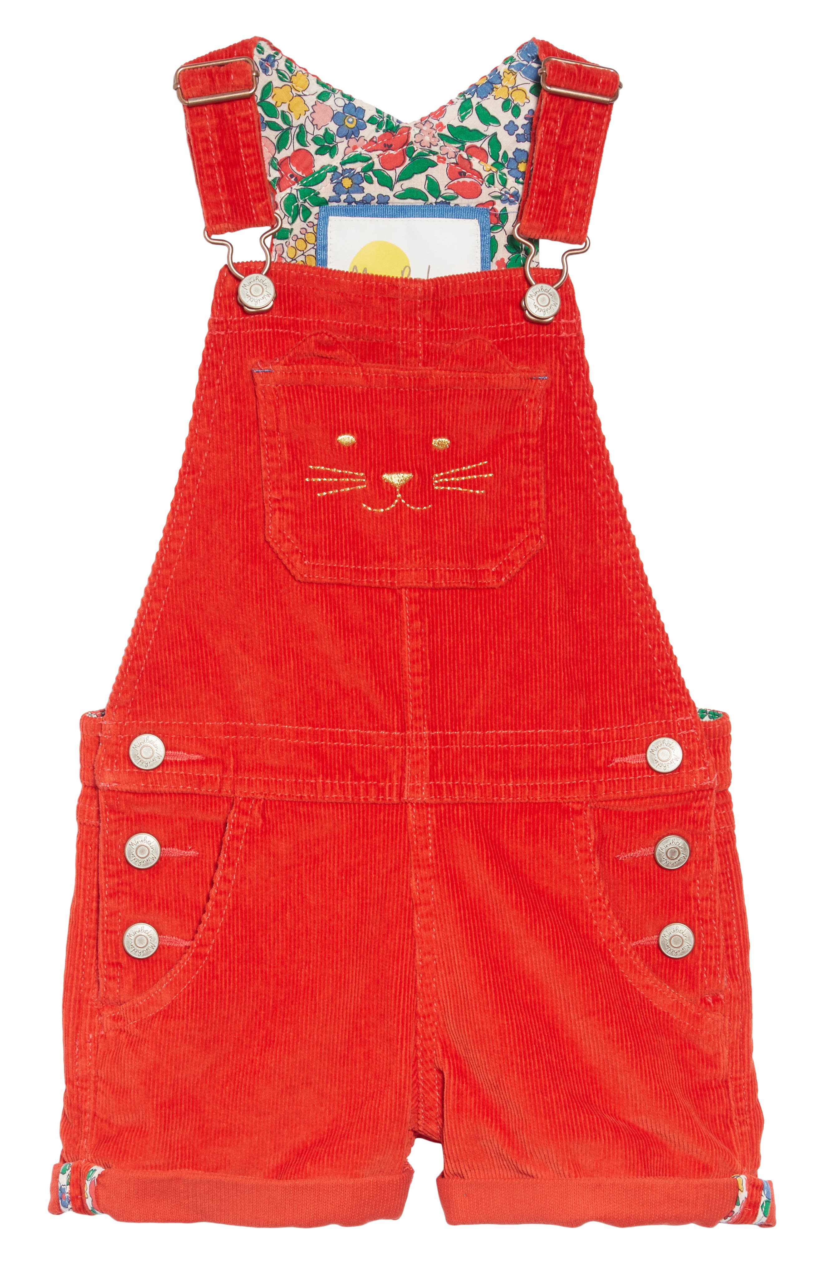 Toddler Girls Mini Boden Dungarees Short Overalls Size 34Y  Red