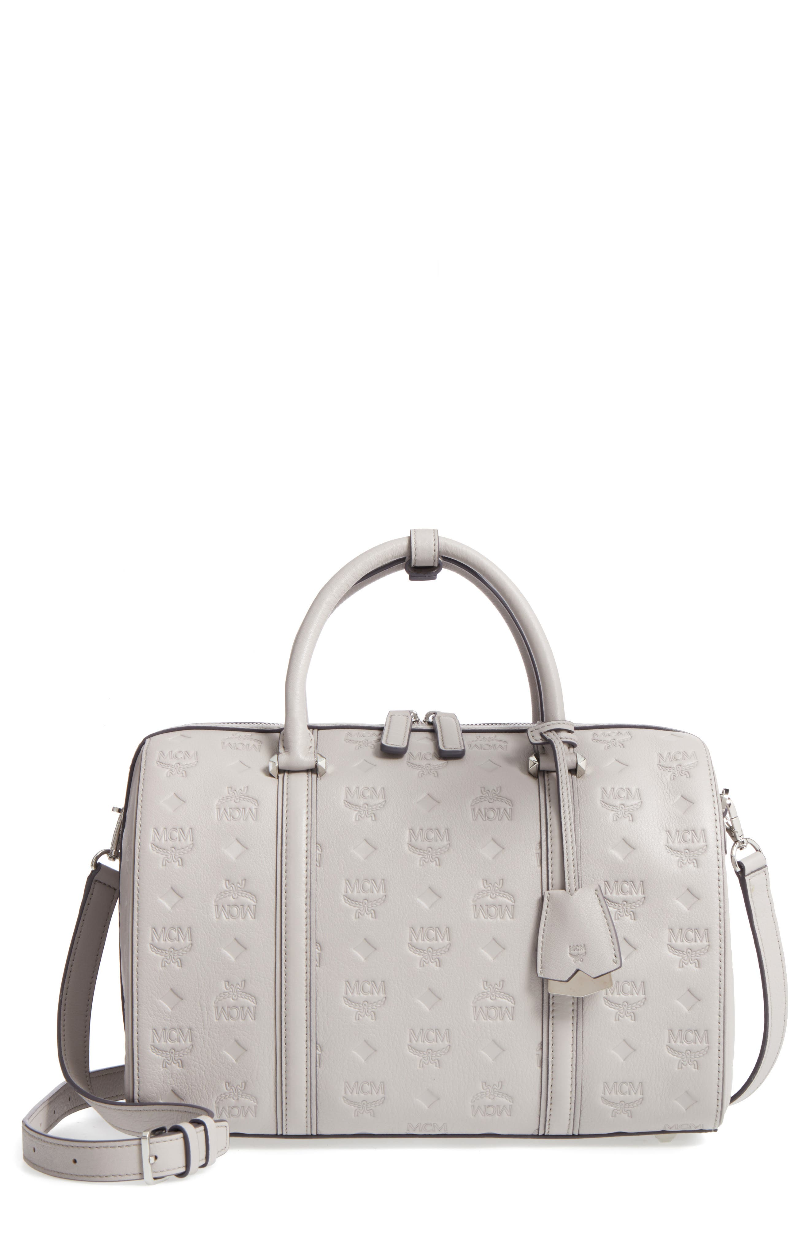 Signature Monogram Embossed Leather Crossbody Bag,                         Main,                         color, DOVE