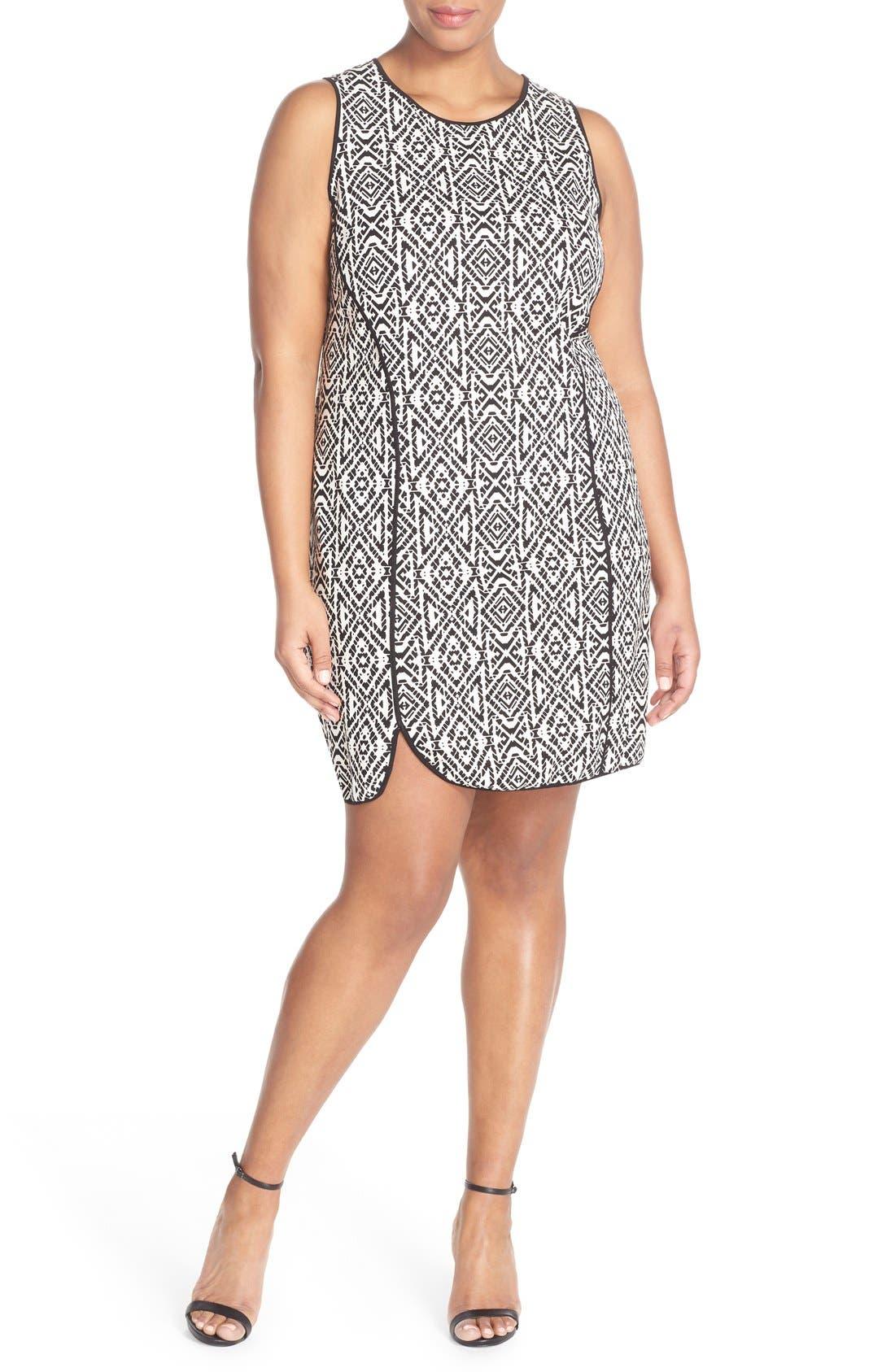 'Joslyn' Sleeveless Seam Detail Ponte Sheath Dress,                             Alternate thumbnail 4, color,                             007