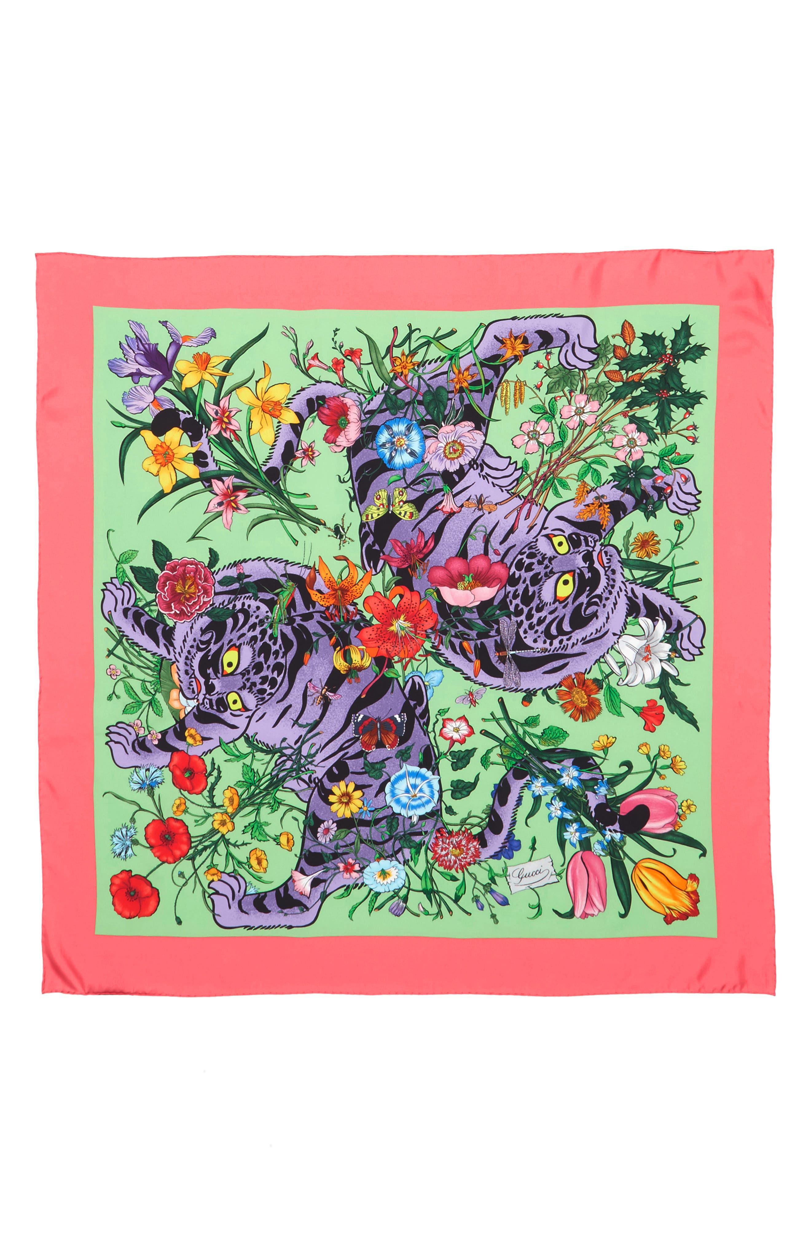 Flora Tiger Square Silk Scarf,                             Alternate thumbnail 3, color,                             AQUA/ PINK
