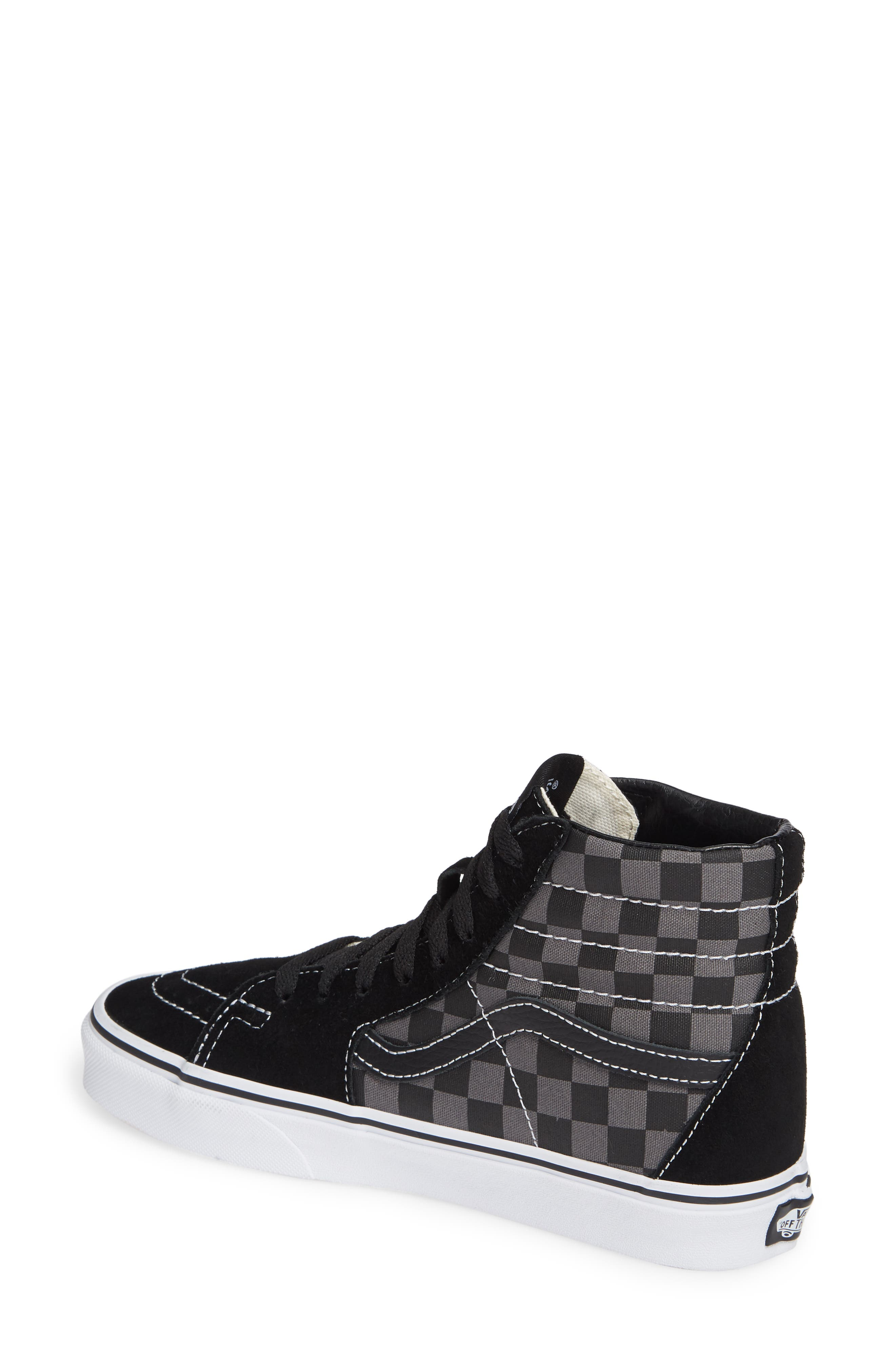 Sk8-Hi Checker Sneaker,                             Alternate thumbnail 2, color,                             BLACK/ PEWTER CHECKERBOARD