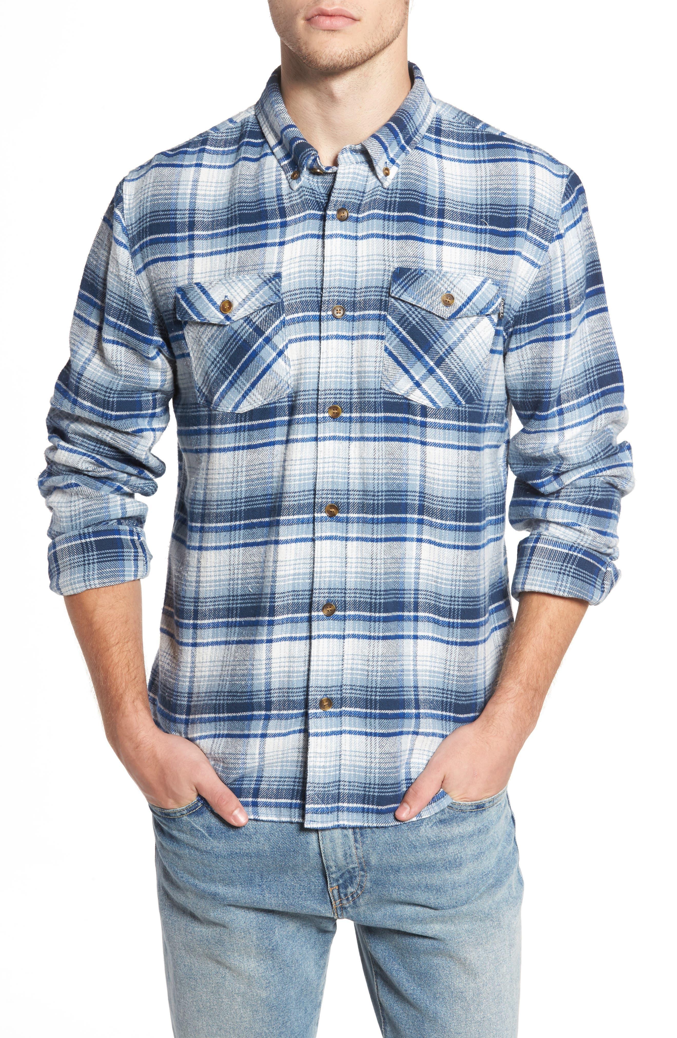Butler Plaid Flannel Sport Shirt,                             Main thumbnail 2, color,