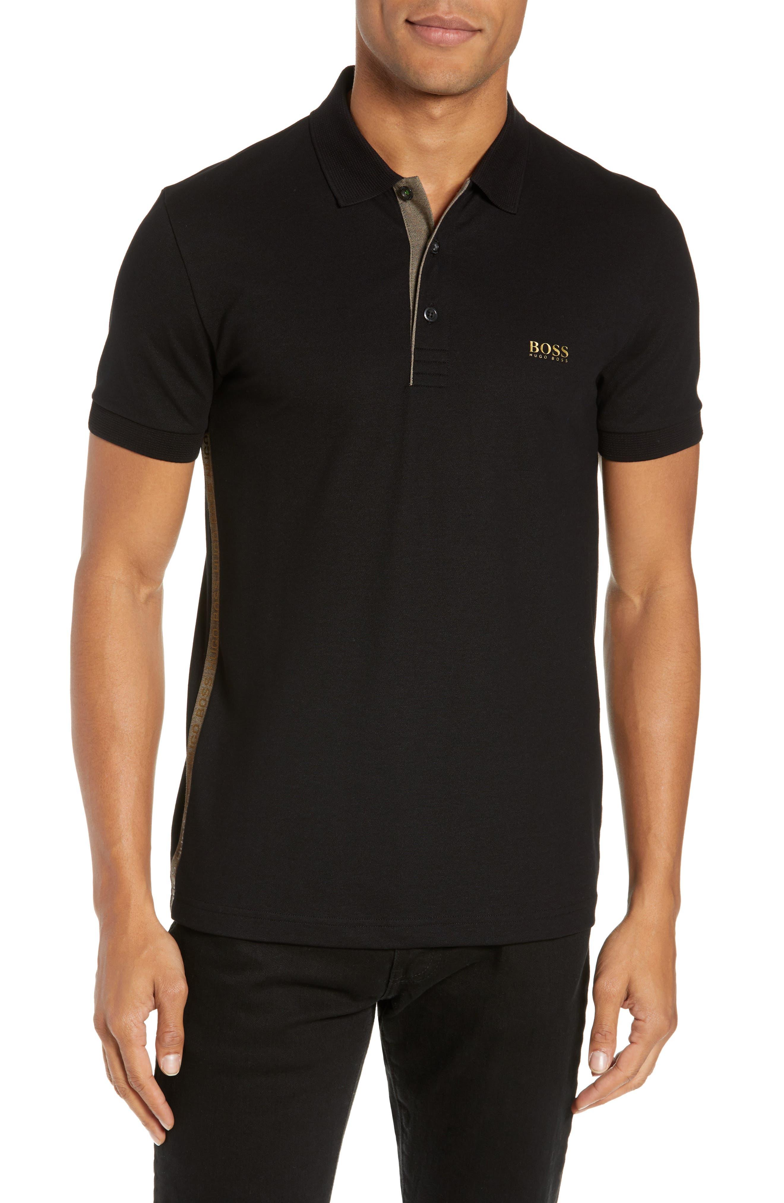Paule Slim Fit Polo,                         Main,                         color, BLACK