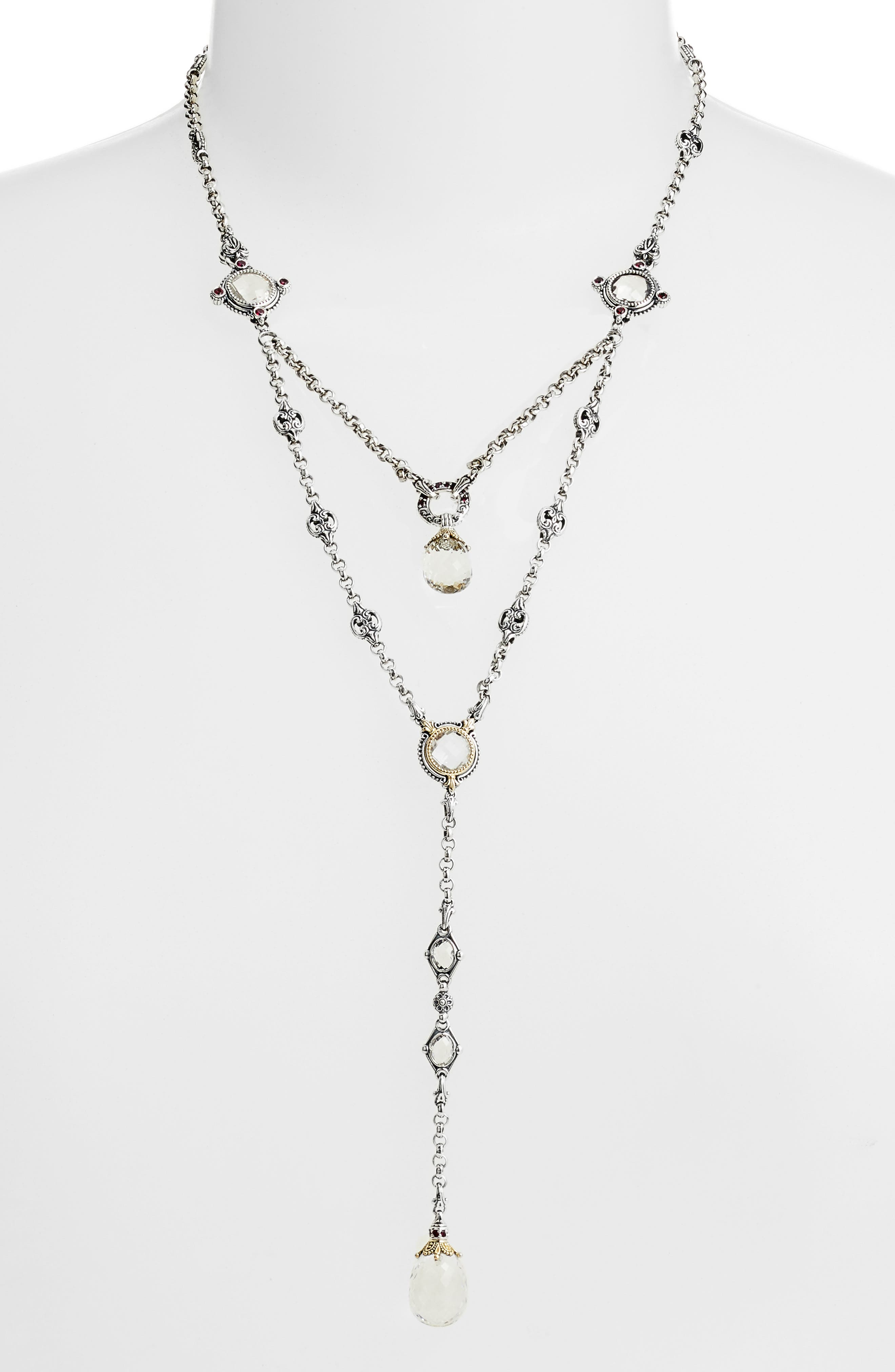 Pythia Crystal Y-Necklace,                             Main thumbnail 1, color,                             SILVER/ CRYSTAL