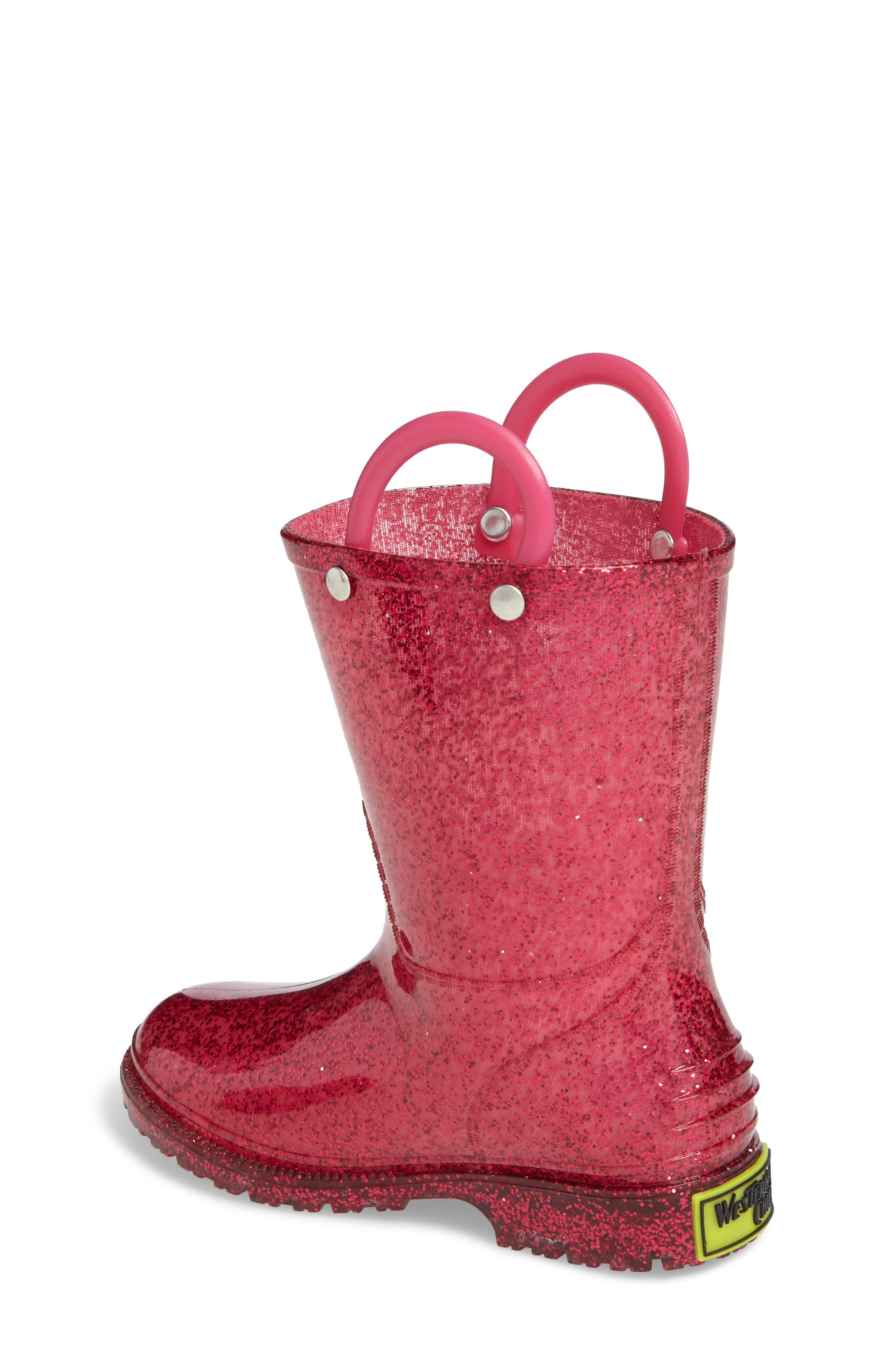 Glitter Waterproof Rain Boot,                             Alternate thumbnail 2, color,                             PINK