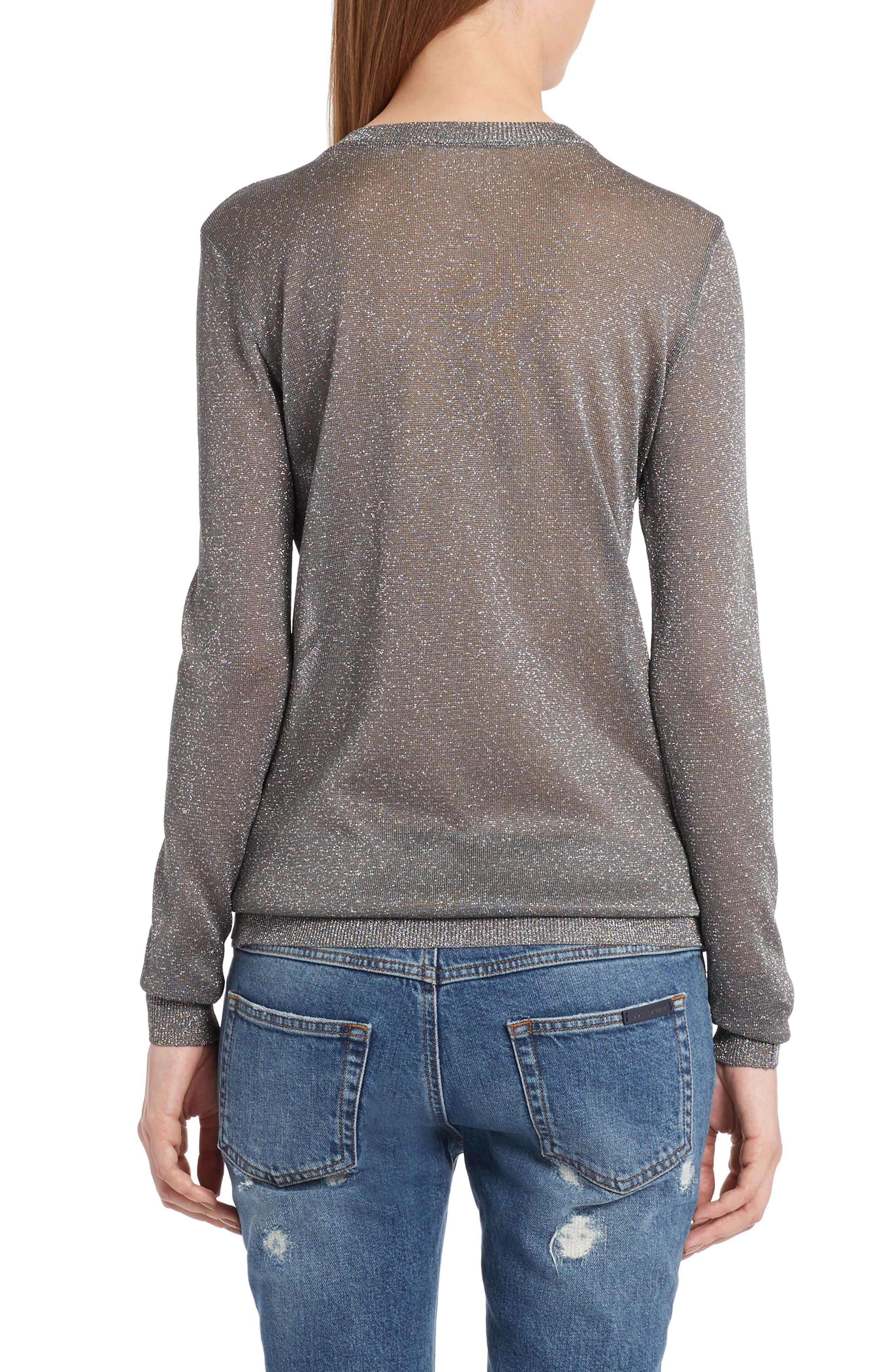 Embellished Metallic Sweater,                             Alternate thumbnail 2, color,