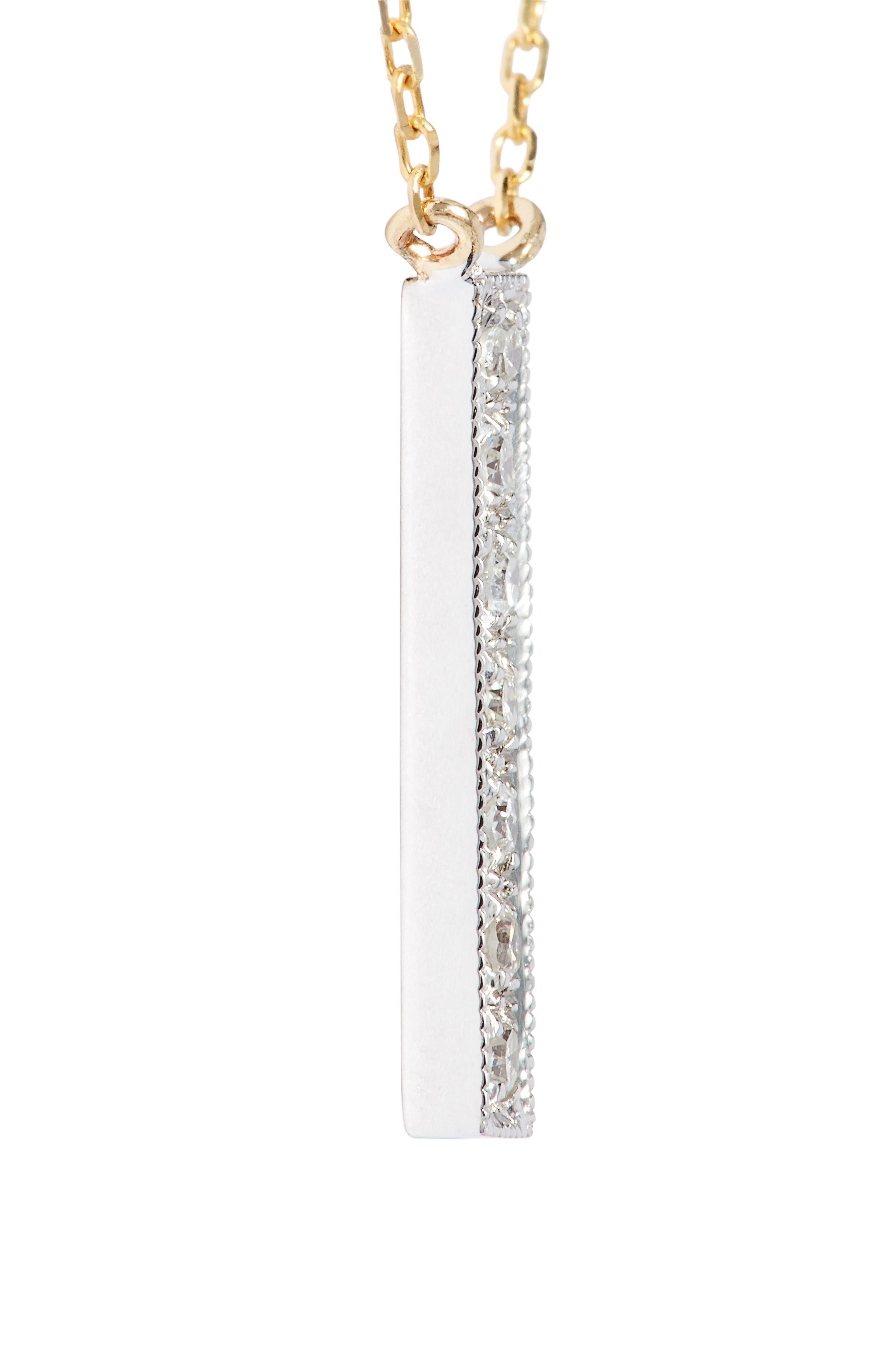 Sylvie Rose Vertical Bar Diamond Pendant Necklace,                             Alternate thumbnail 5, color,                             YELLOW GOLD