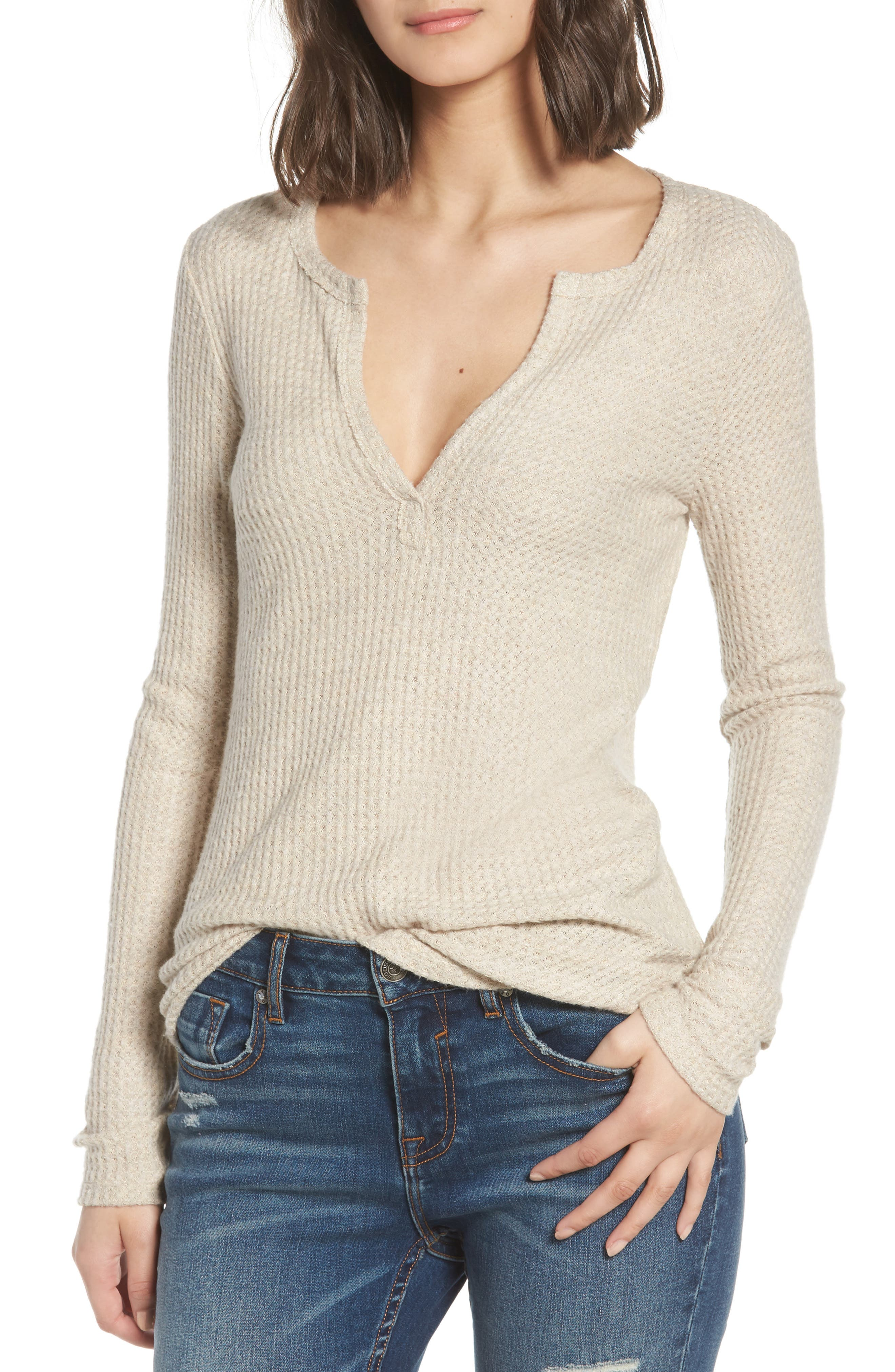 Thermal Henley Top,                         Main,                         color, OATMEAL