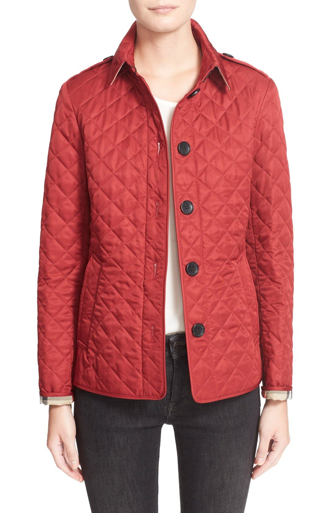 Ashurst Quilted Jacket,                         Main,                         color, PARADE RED