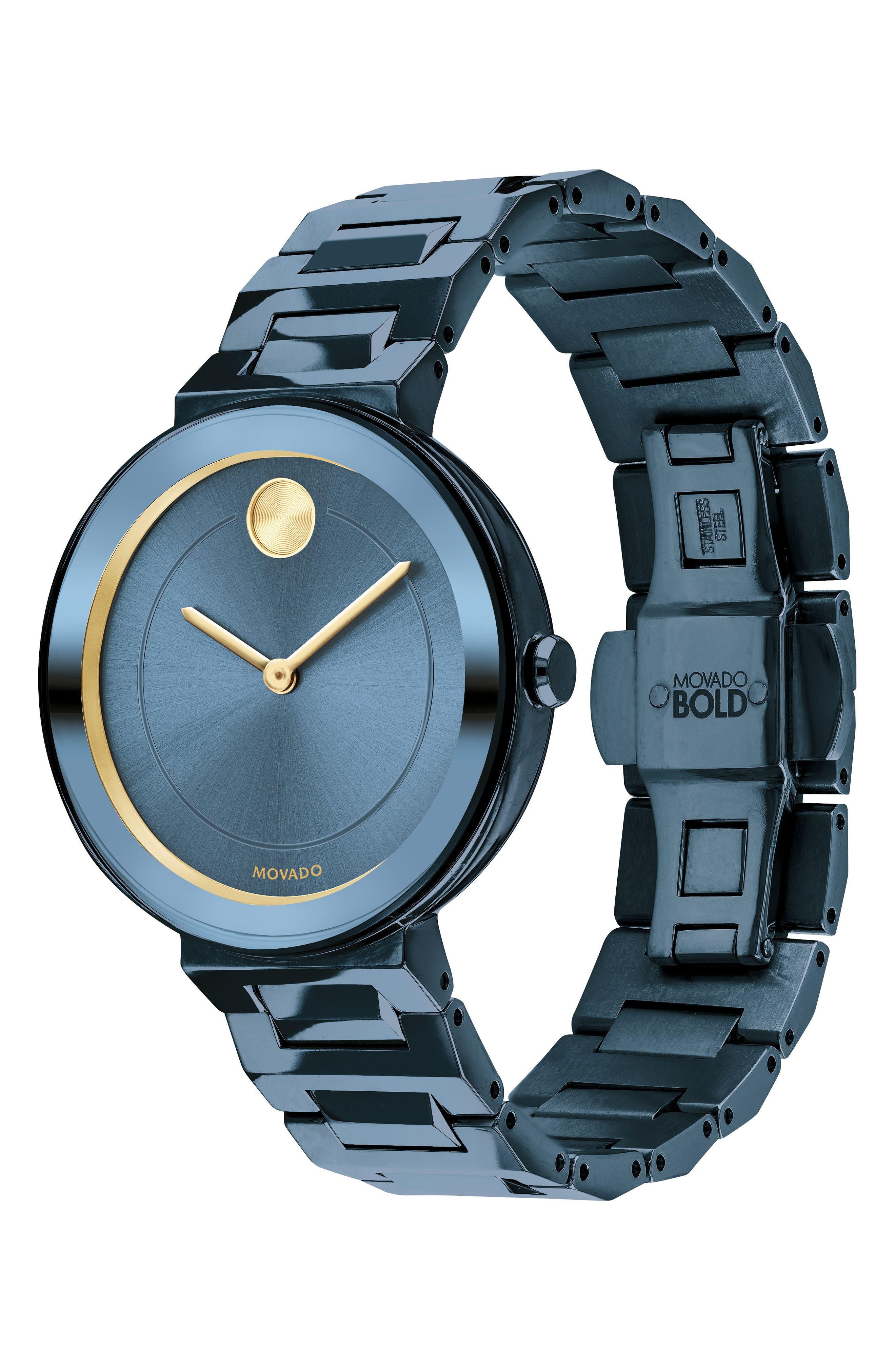 Bold Bracelet Watch, 34mm,                             Alternate thumbnail 3, color,                             BLUE