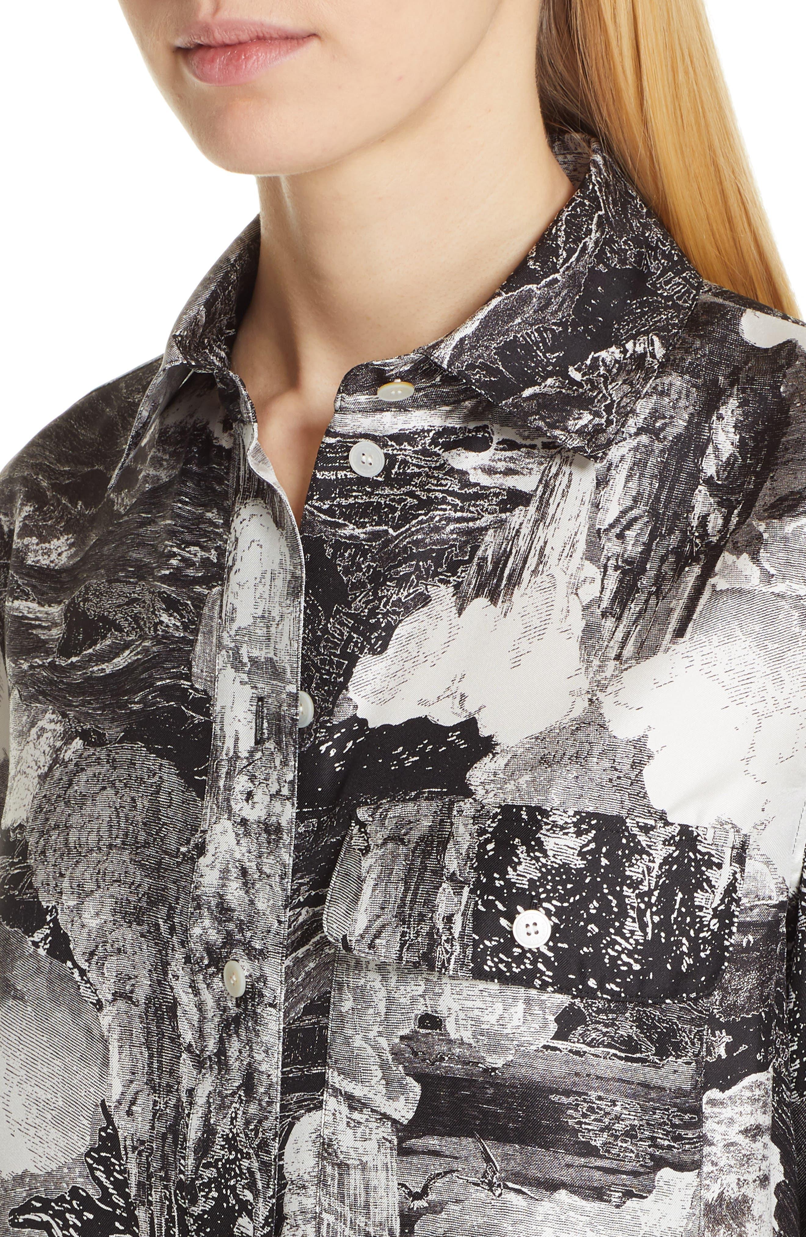 Chava Print Silk Shirt,                             Alternate thumbnail 4, color,                             BLACK