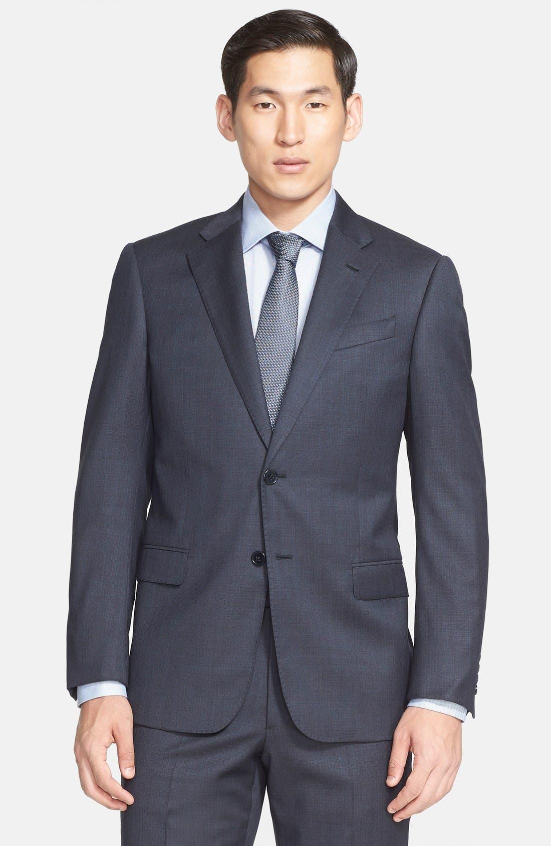 'G-Line' Trim Fit Solid Wool Suit,                             Alternate thumbnail 3, color,                             410