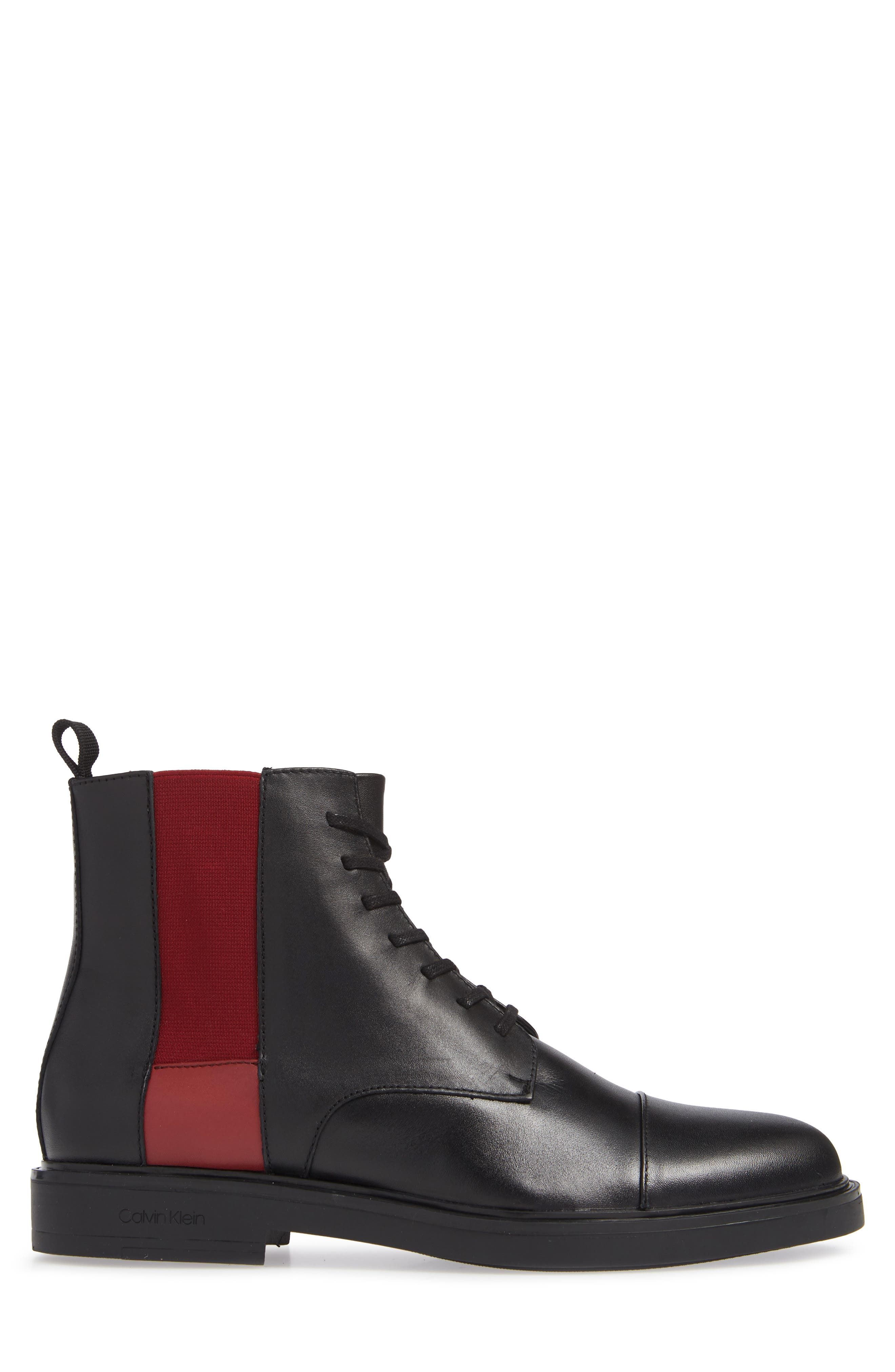 Dameon Lace-Up Boot,                             Alternate thumbnail 3, color,                             BLACK/ RED ROCK LEATHER