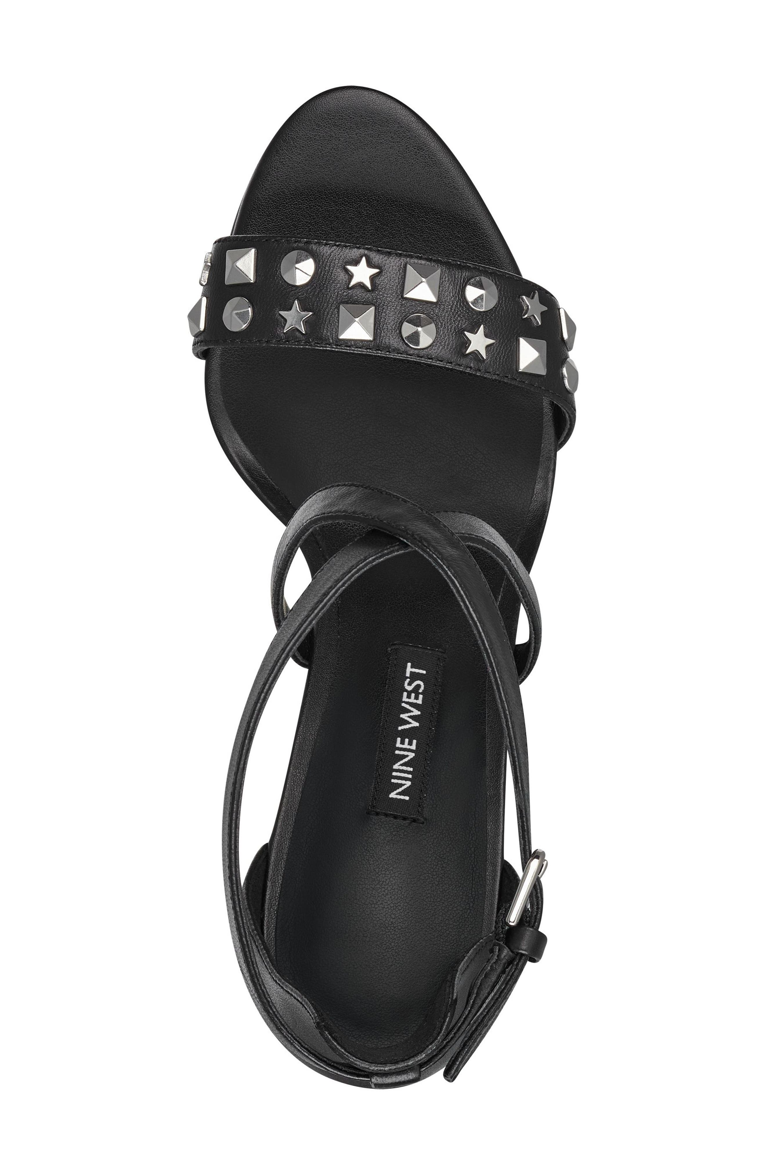 Maziany Studded Sandal,                             Alternate thumbnail 5, color,                             BLACK LEATHER