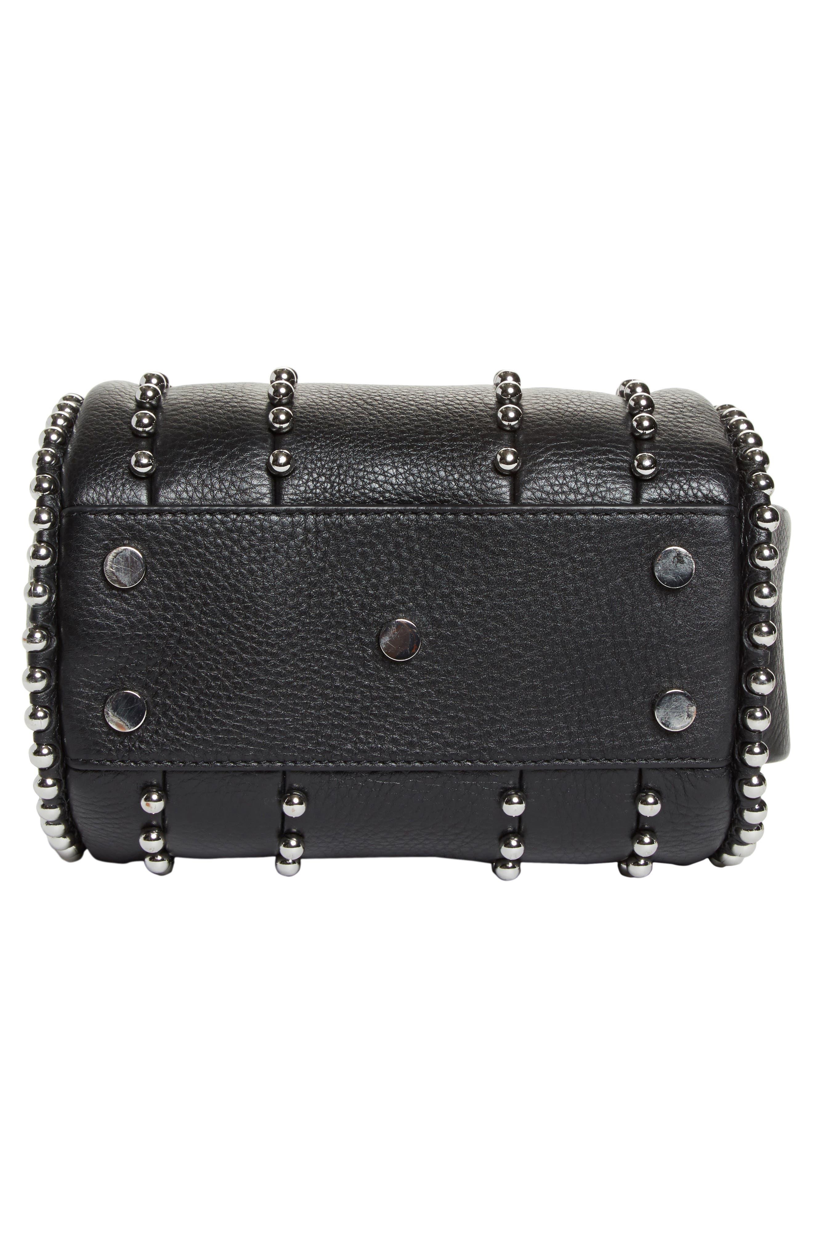 Mini Rockie Studded Leather Crossbody Satchel,                             Alternate thumbnail 6, color,                             BLACK