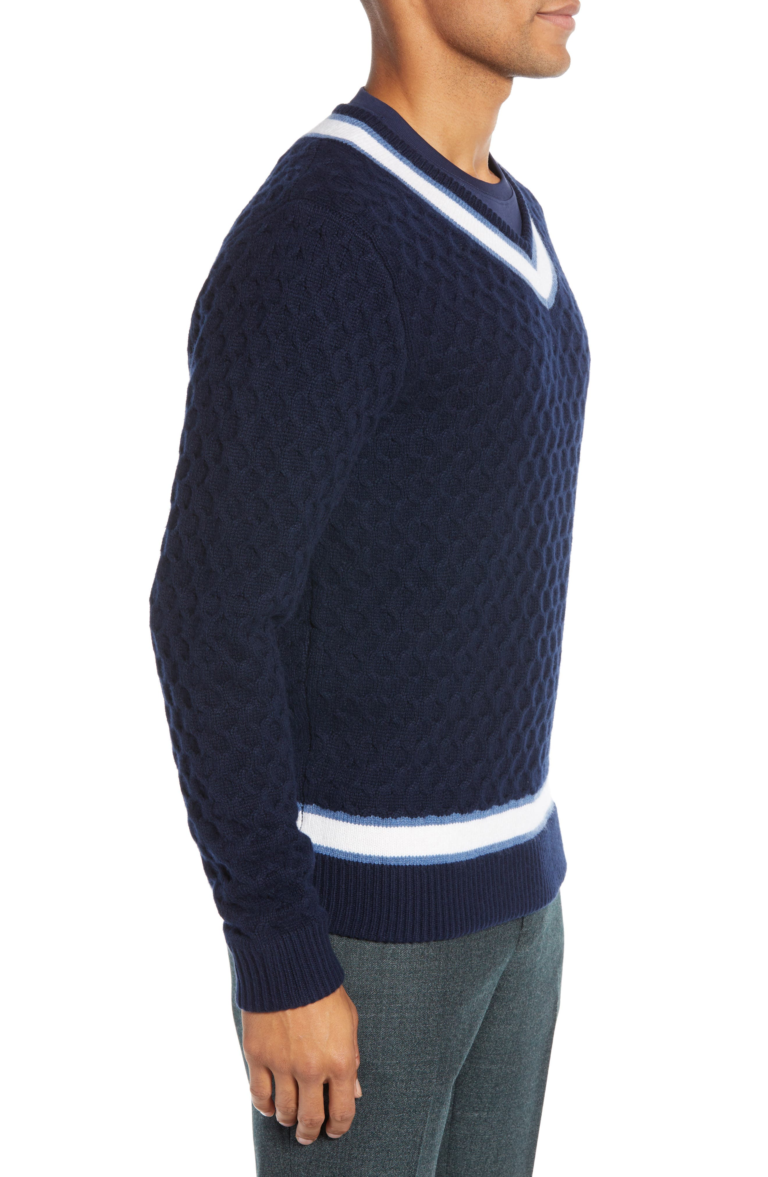 Varsity Stripe V-Neck Wool Blend Sweater,                             Alternate thumbnail 3, color,                             NAVY IRIS