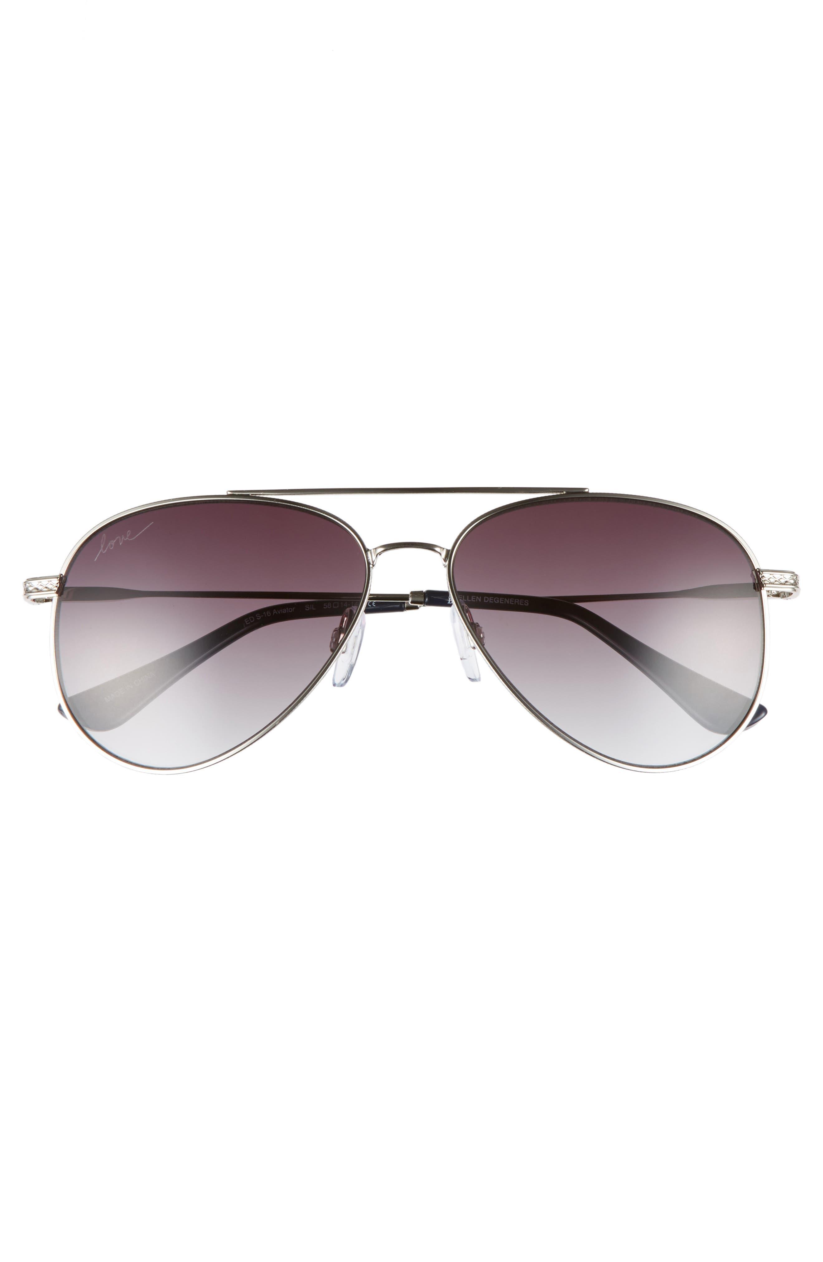 58mm Aviator Sunglasses,                             Alternate thumbnail 7, color,