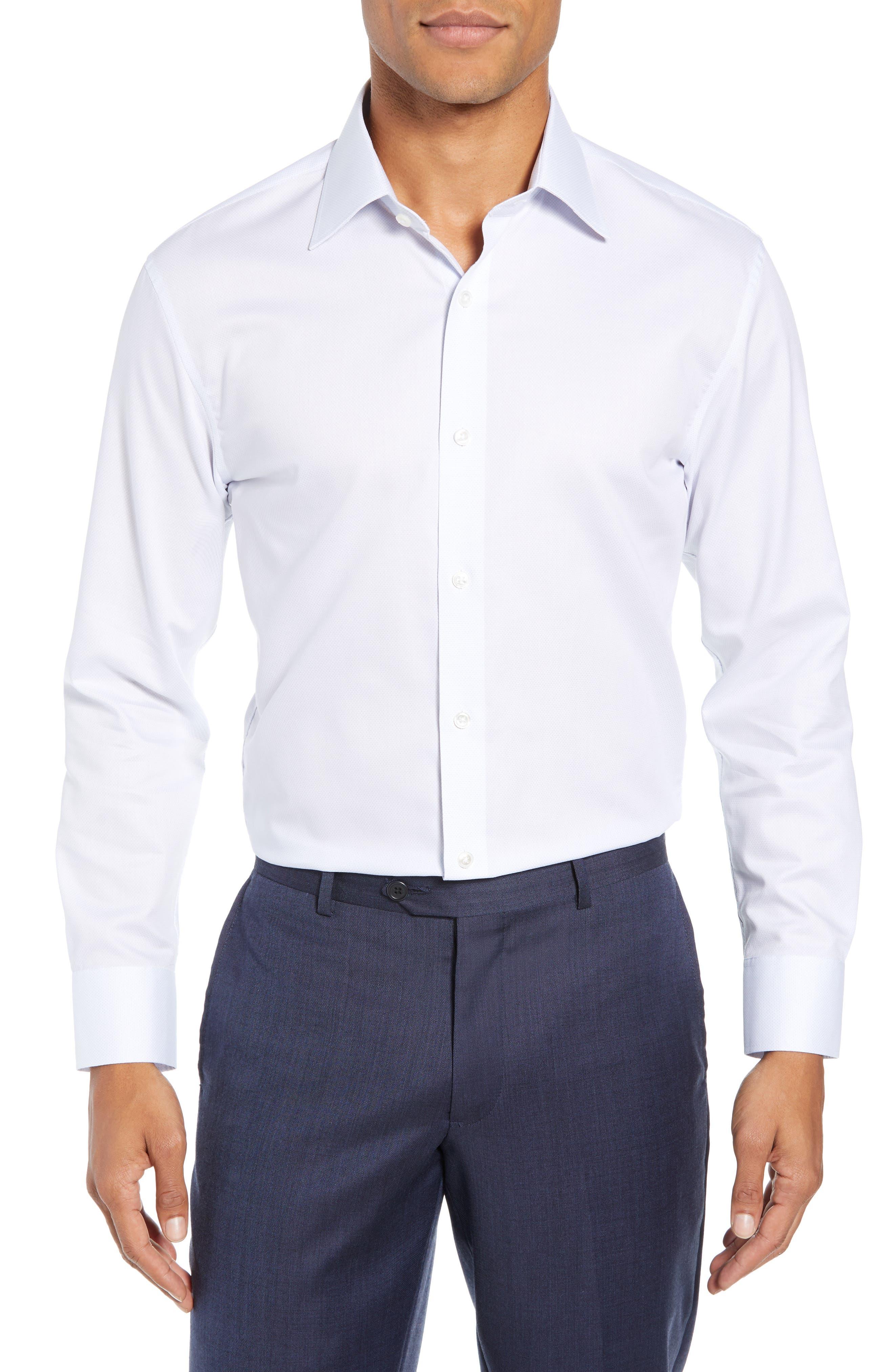 Swiss Performance Slim Fit Solid Dress Shirt,                             Main thumbnail 1, color,                             SOFT BLUE