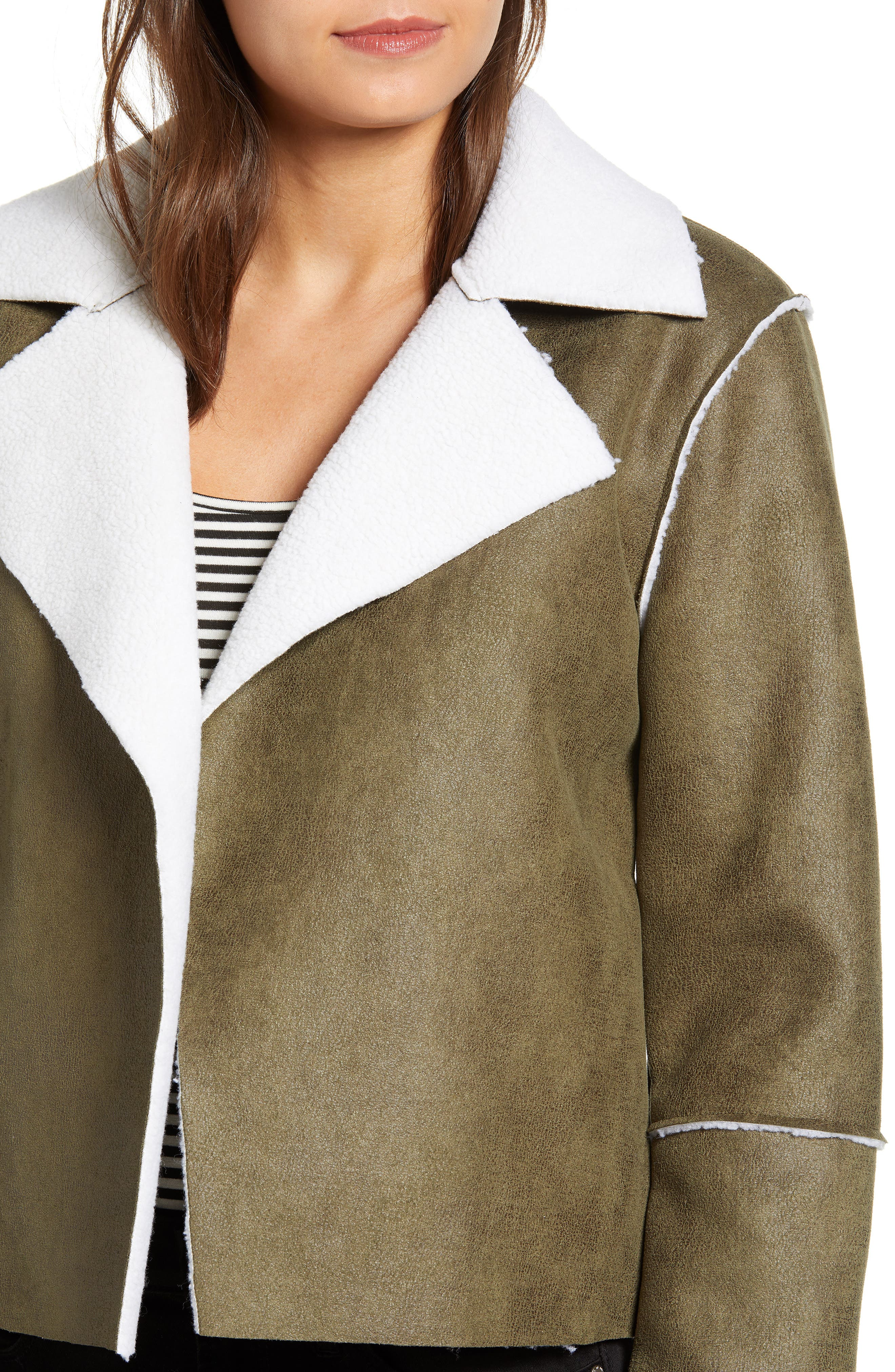 Faux Shearling Moto Jacket,                             Alternate thumbnail 4, color,                             300
