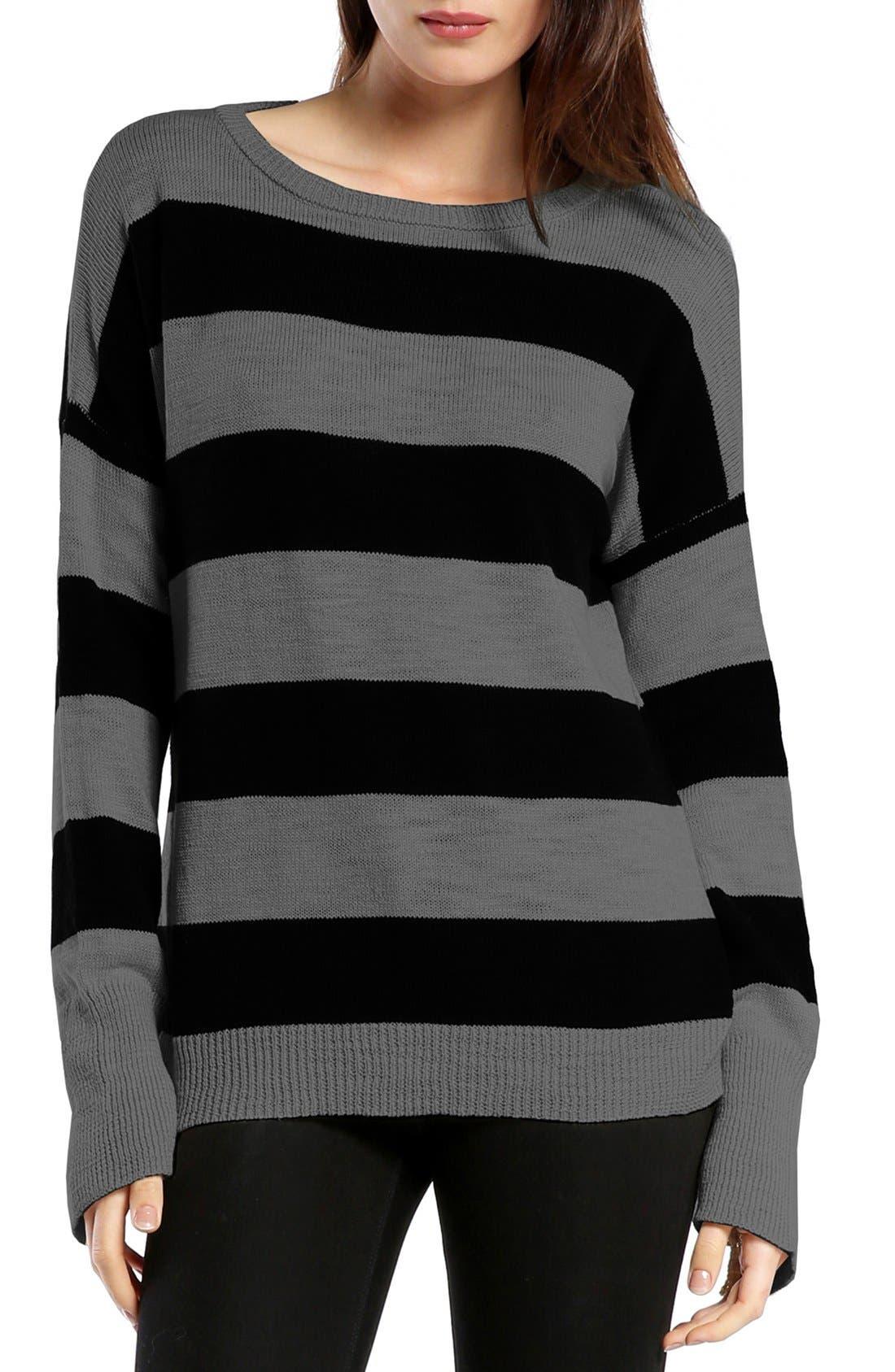 MICHAEL STARS Side Zip Stripe Boatneck Top, Main, color, 055