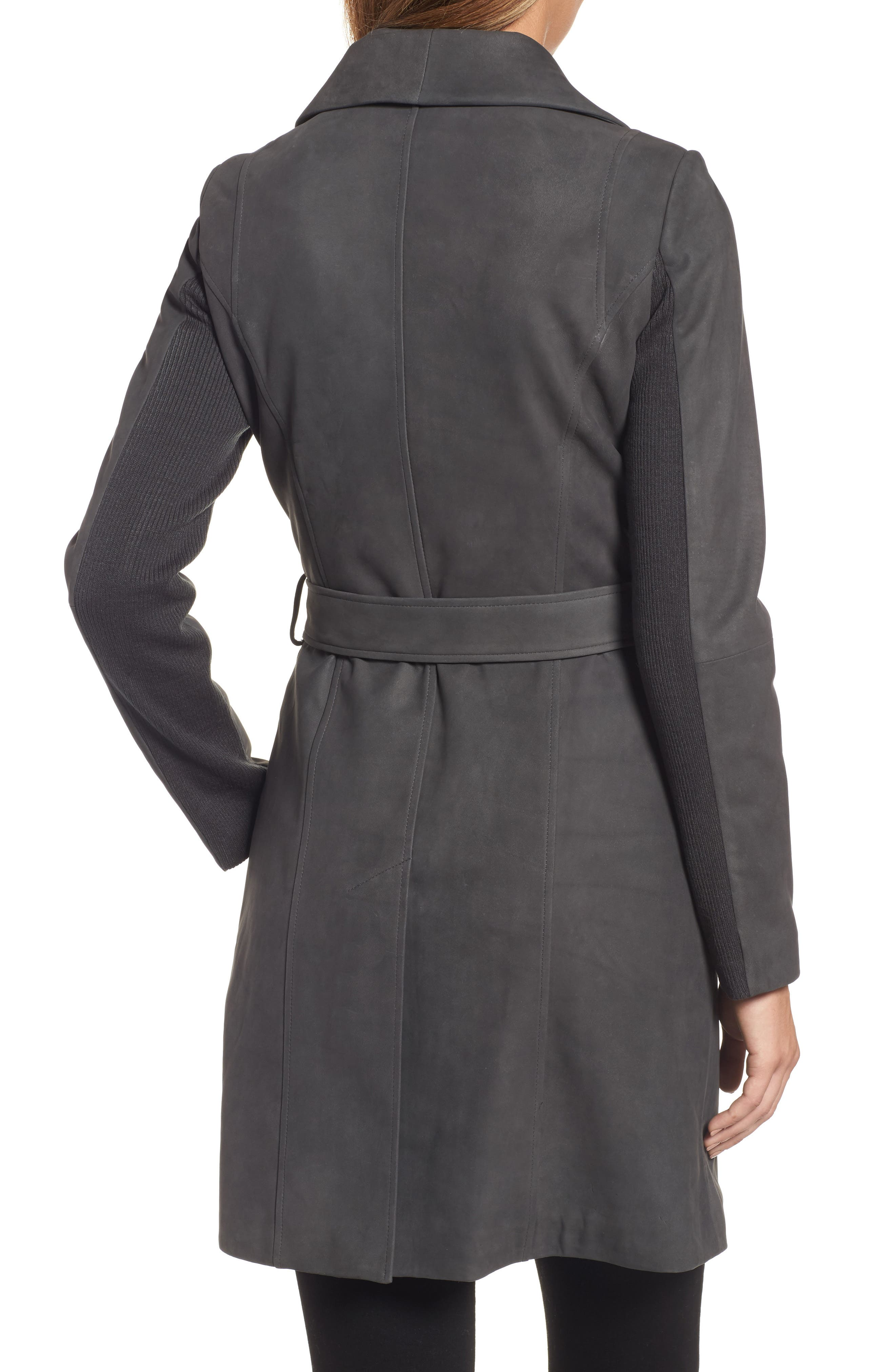 Jacqueline Belted Leather Trench Coat,                             Alternate thumbnail 2, color,                             065