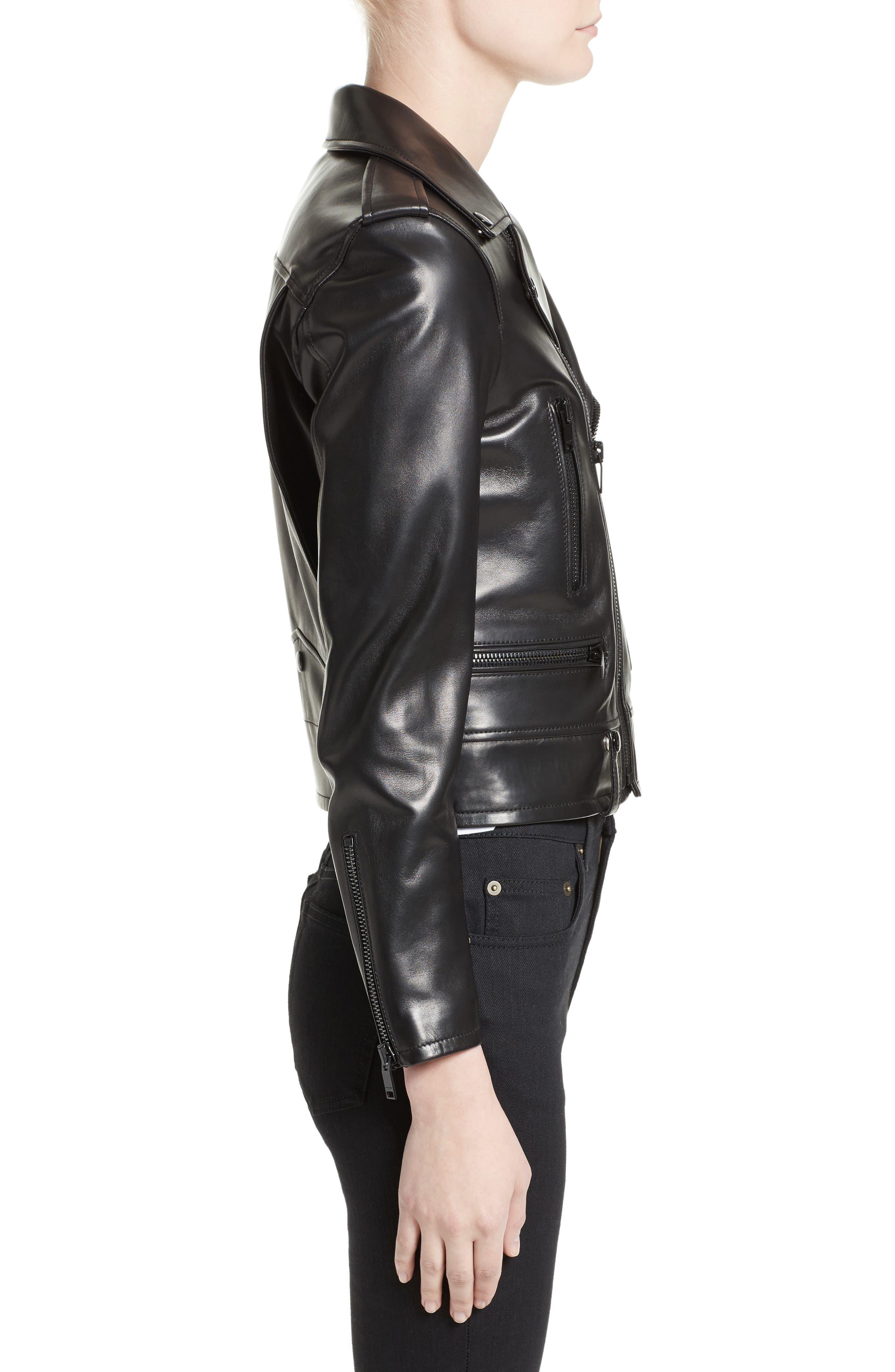 Leather Moto Jacket,                             Alternate thumbnail 3, color,                             GRANITO