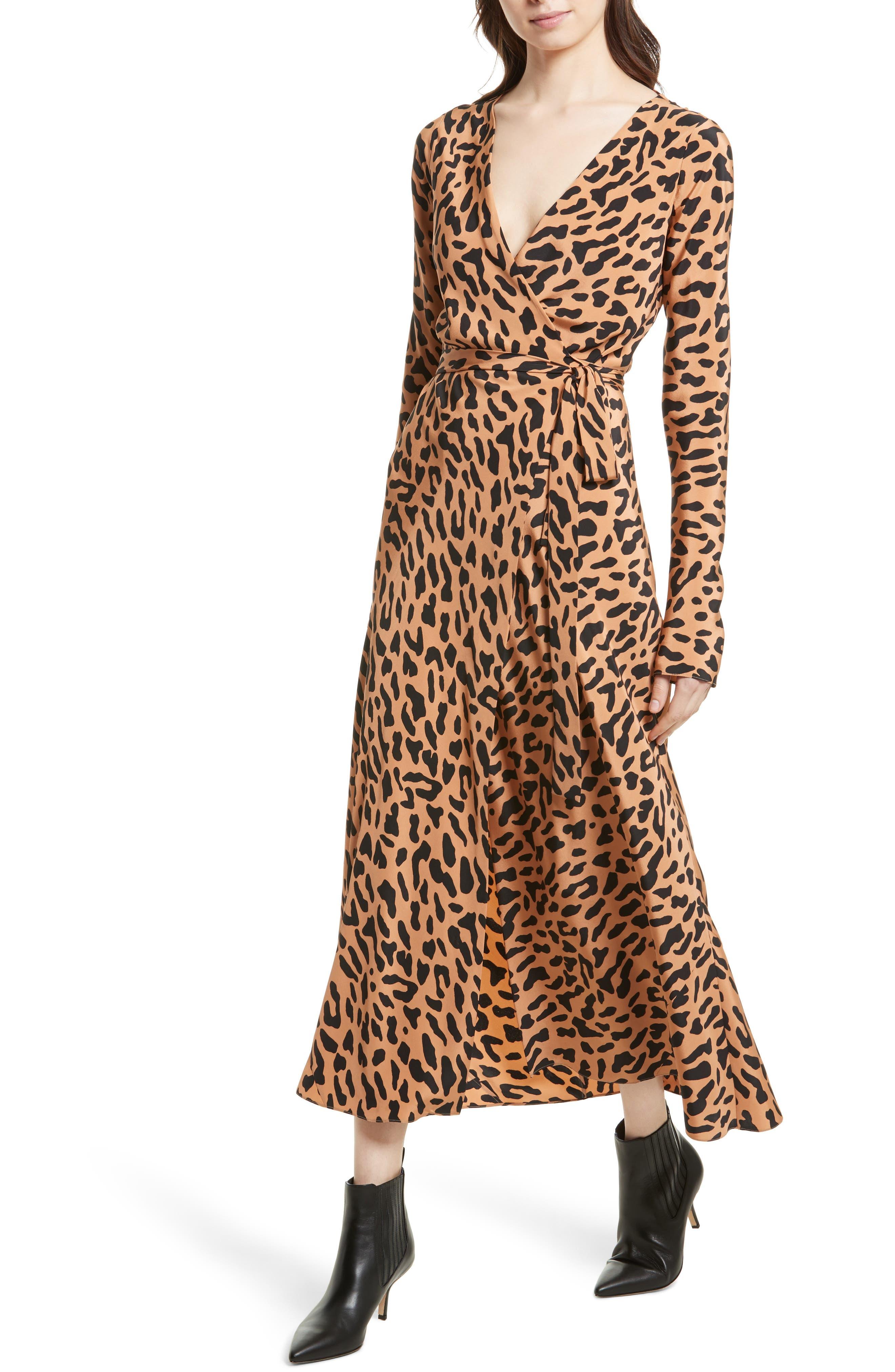 Midi Print Silk Wrap Dress,                             Alternate thumbnail 4, color,                             202