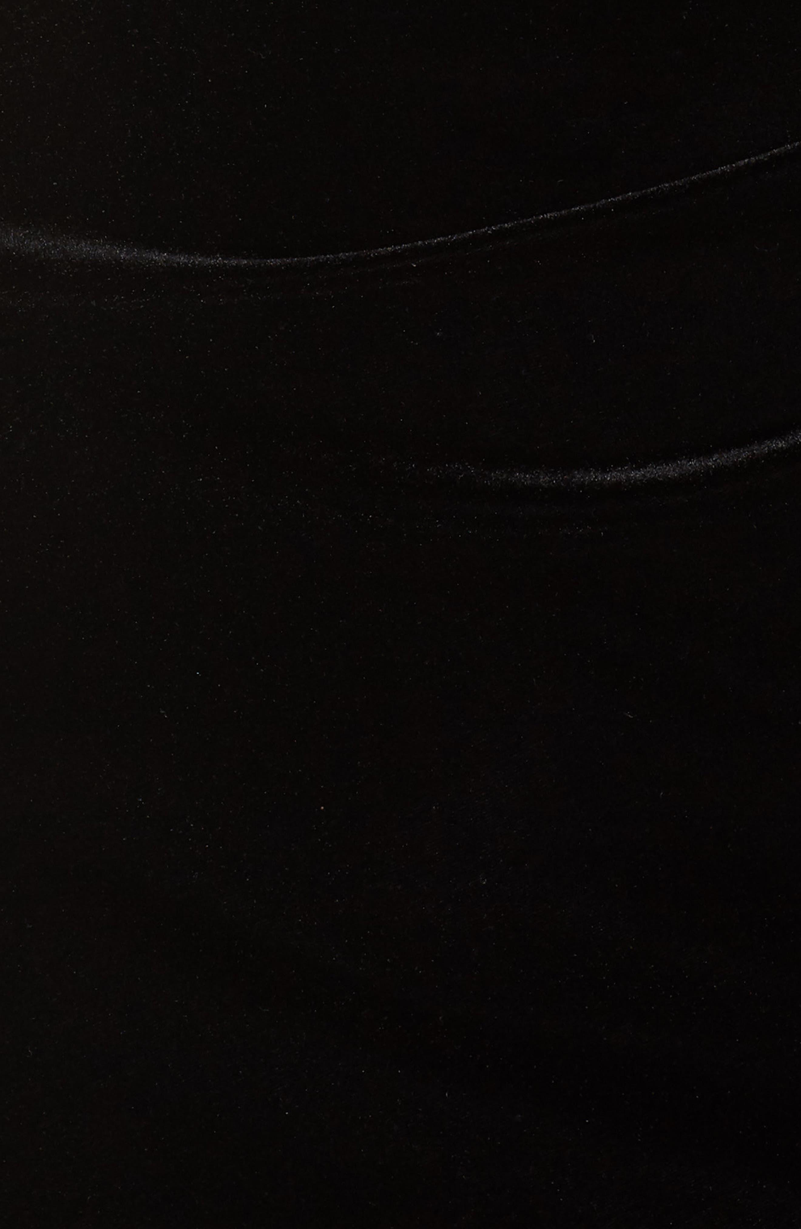 Sequin Cuff Stretch Velvet Gown,                             Alternate thumbnail 6, color,                             BLACK