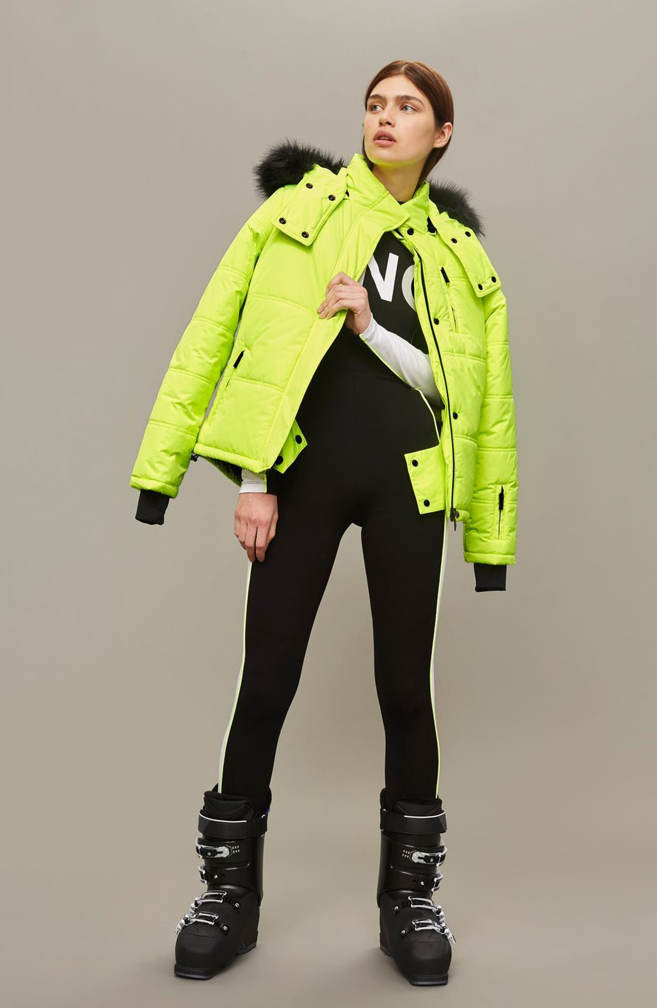 SNO Rio Faux Fur Hood Neon Puffer Jacket,                             Alternate thumbnail 17, color,
