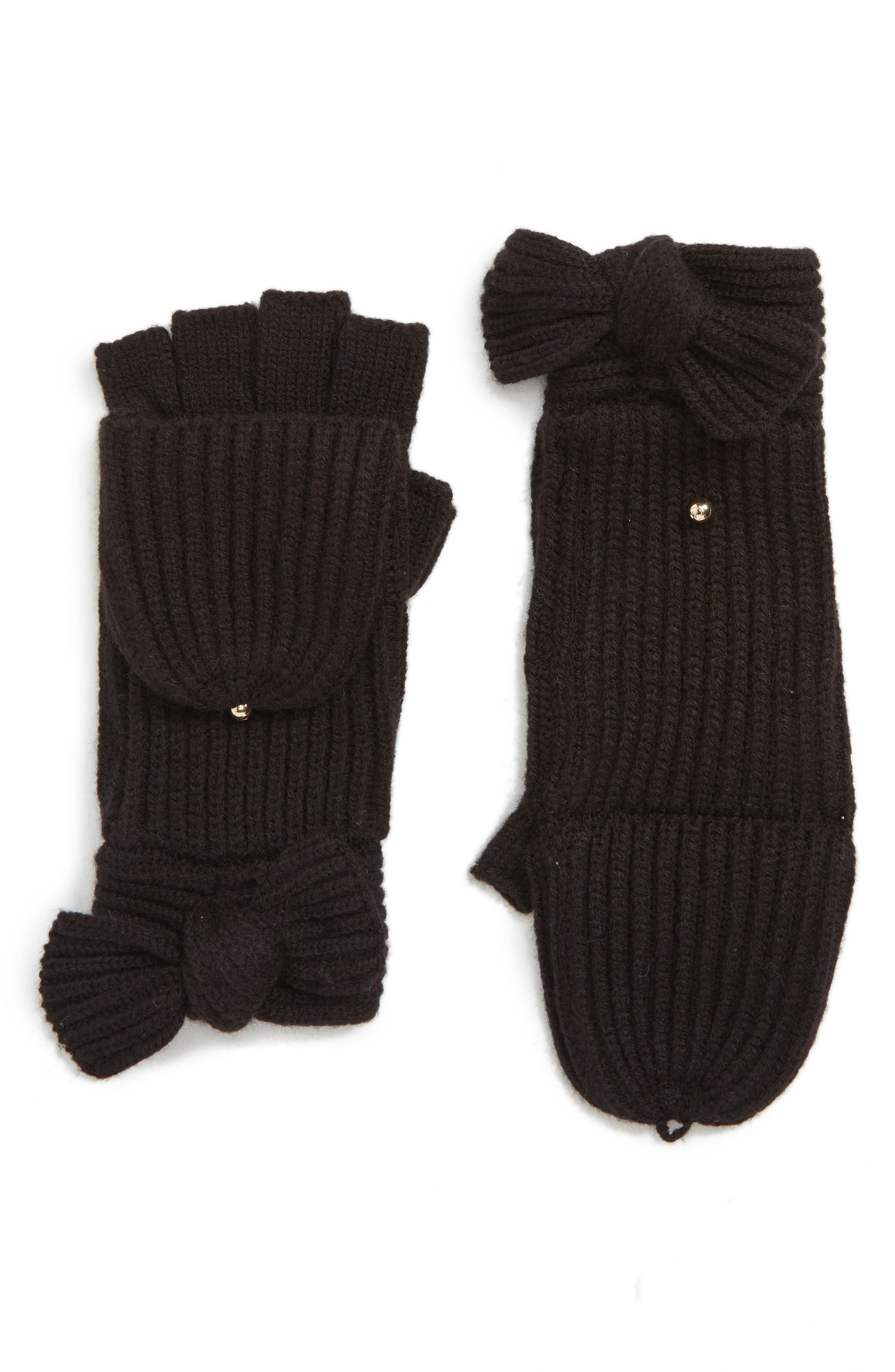 bow convertible mittens,                             Main thumbnail 1, color,                             BLACK