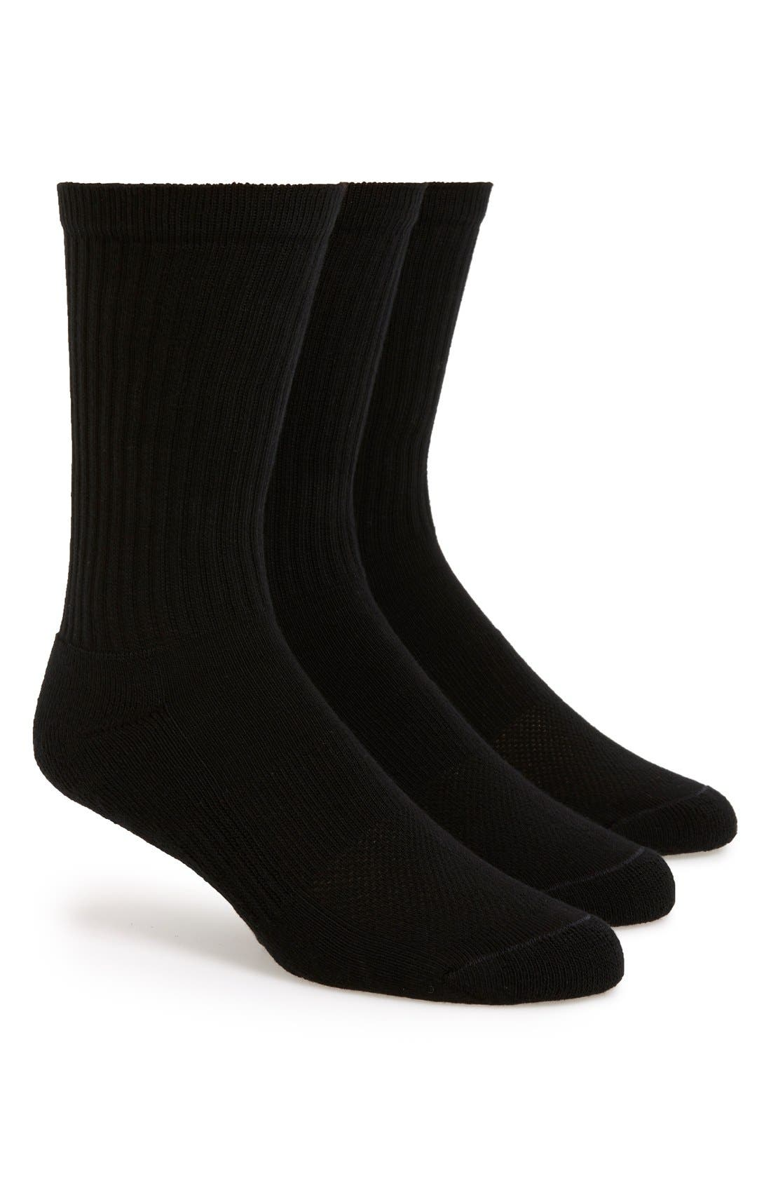 3-Pack Athletic Socks,                         Main,                         color, BLACK