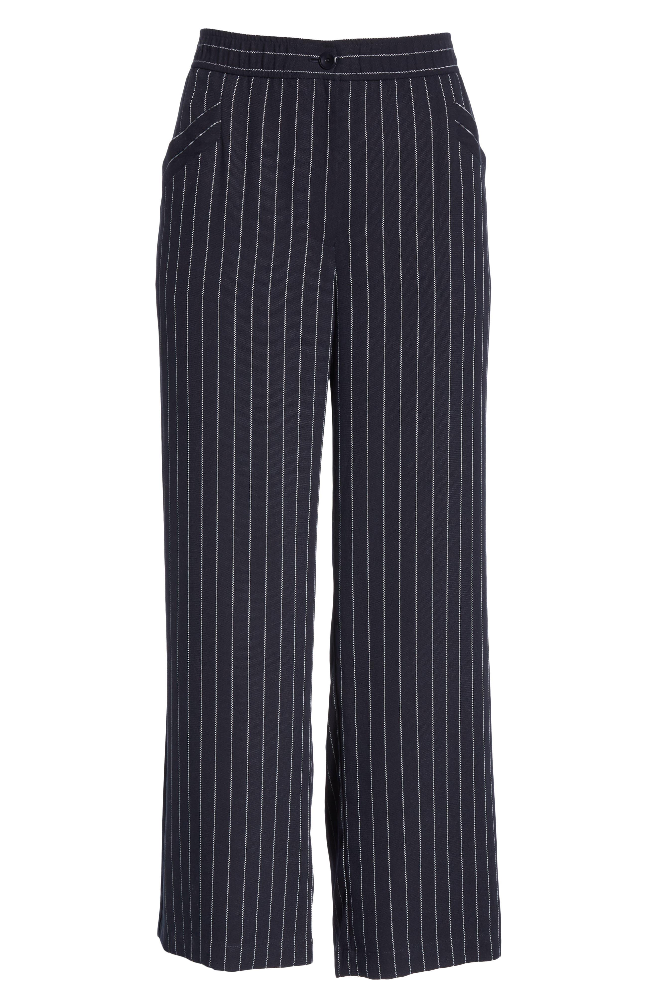 Pinstripe Crop Wide-Leg Pants,                             Alternate thumbnail 7, color,                             INDIGO