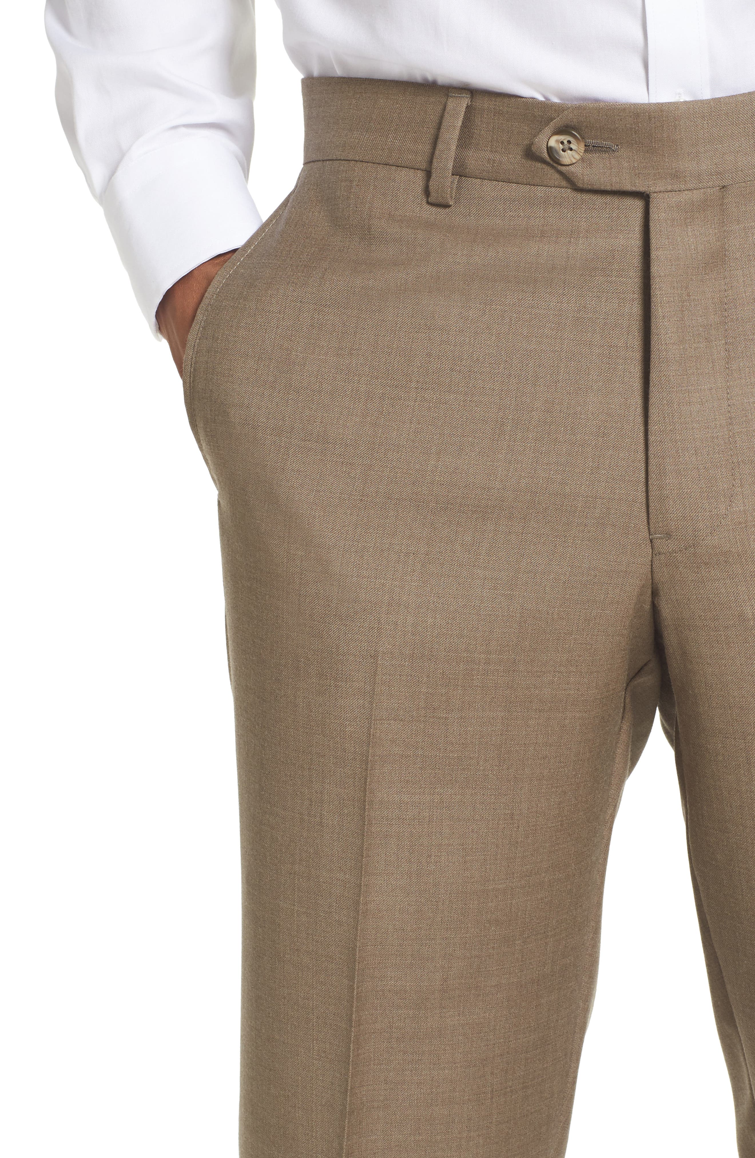 Flat Front Solid Wool Trousers,                             Alternate thumbnail 29, color,