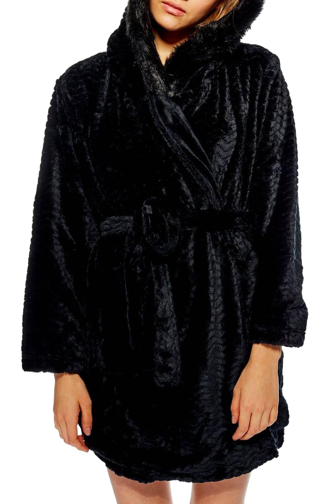Kimmie Hooded Short Robe,                             Main thumbnail 1, color,                             BLACK