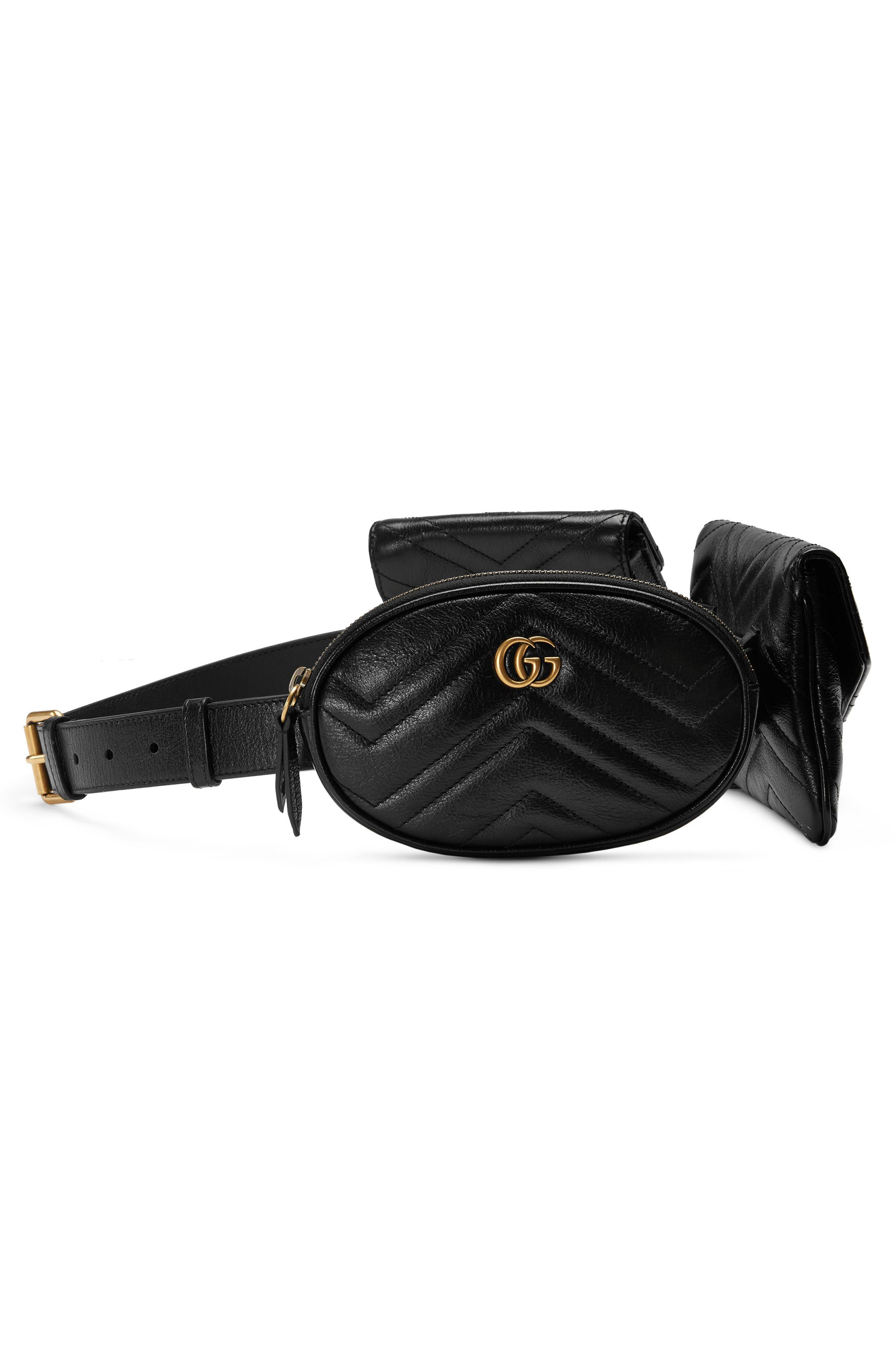 GG Marmont 2.0 Matelassé Triple Pouch Leather Belt Bag,                             Alternate thumbnail 5, color,                             001