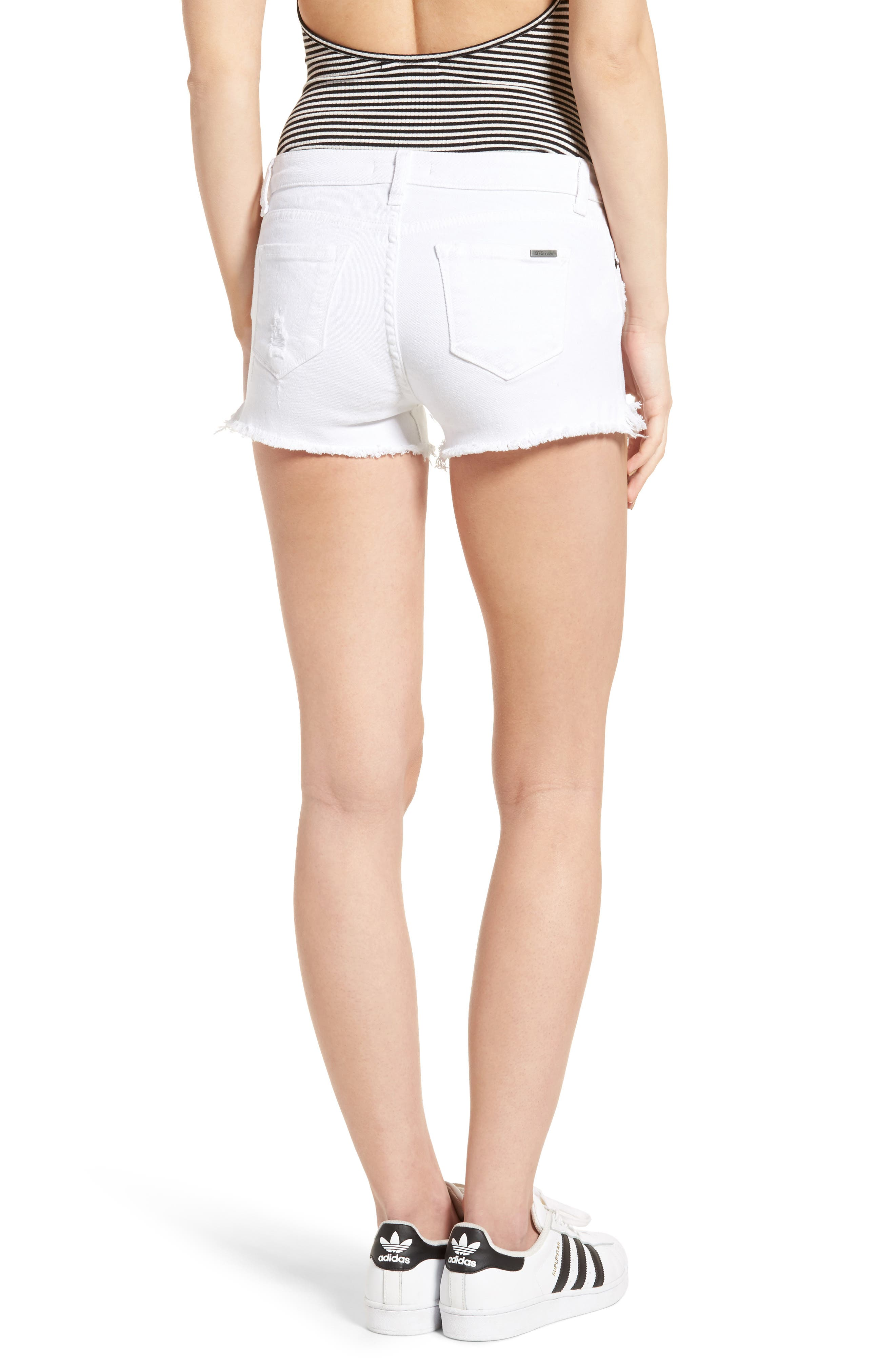 Raw Hem Denim Shorts,                             Alternate thumbnail 2, color,                             WHITE