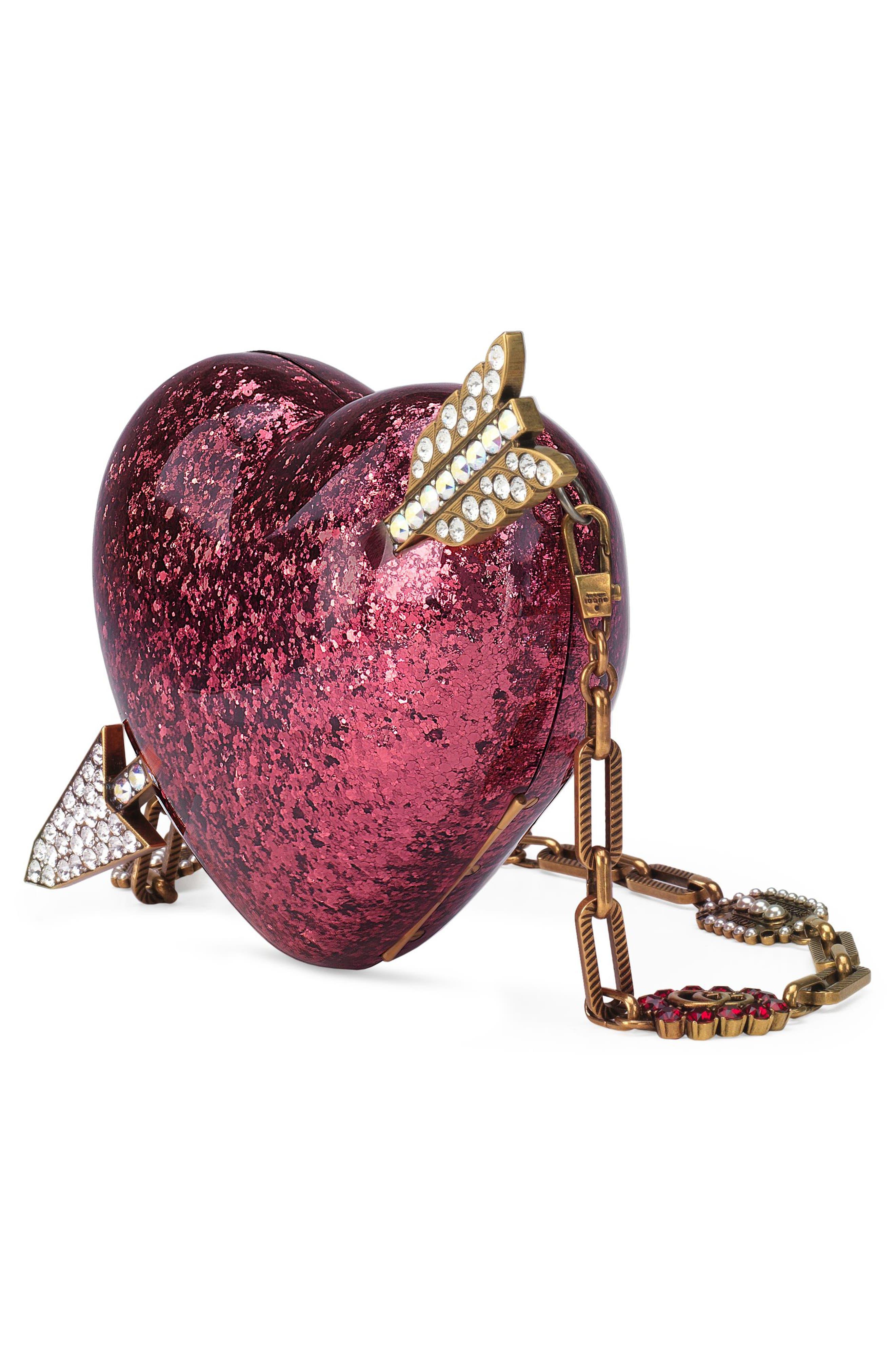 Broadway Glitter Heart Minaudière,                             Alternate thumbnail 4, color,                             659