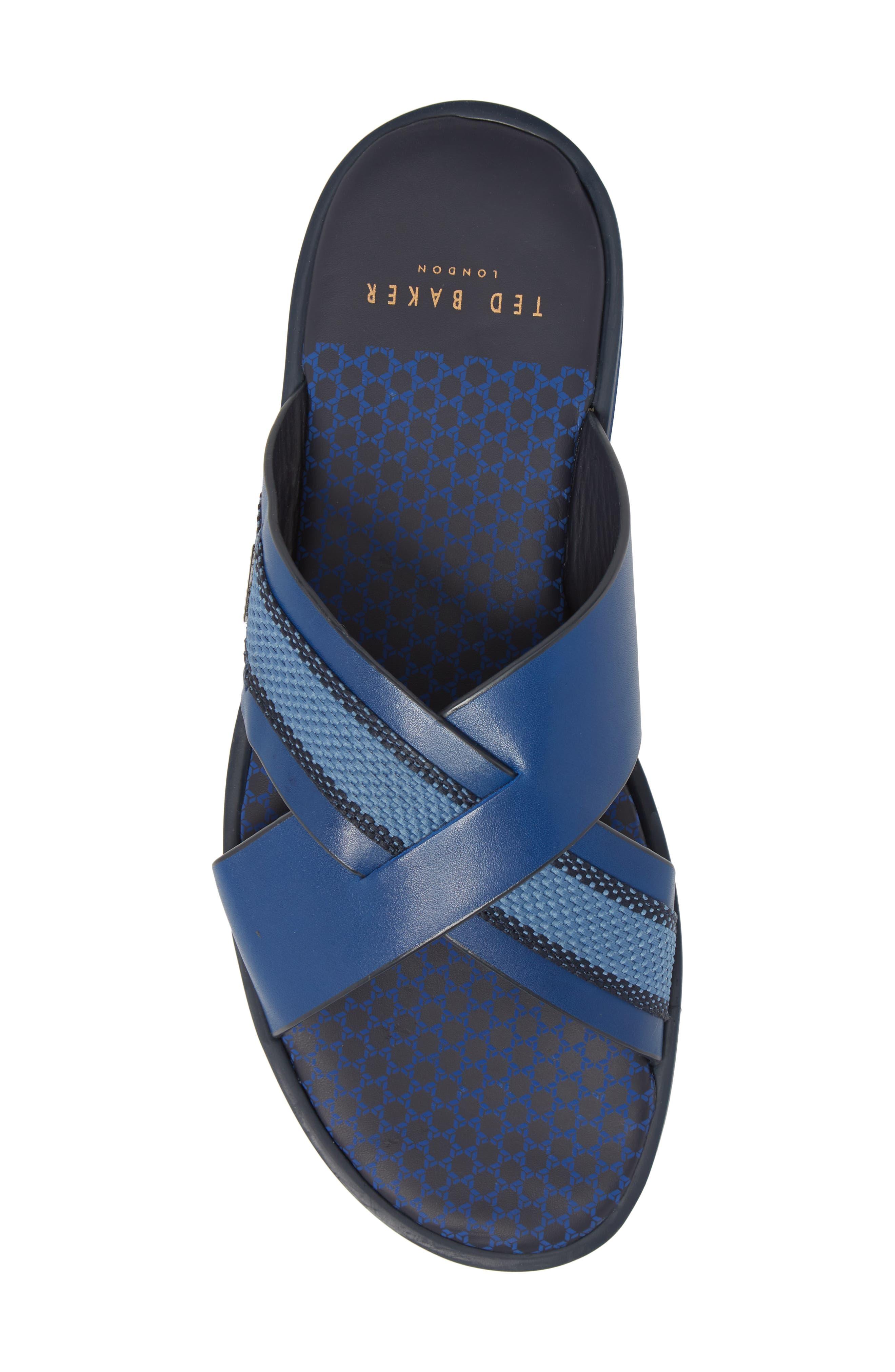 Farrull Cross Strap Slide Sandal,                             Alternate thumbnail 5, color,                             BLUE LEATHER/TEXTILE