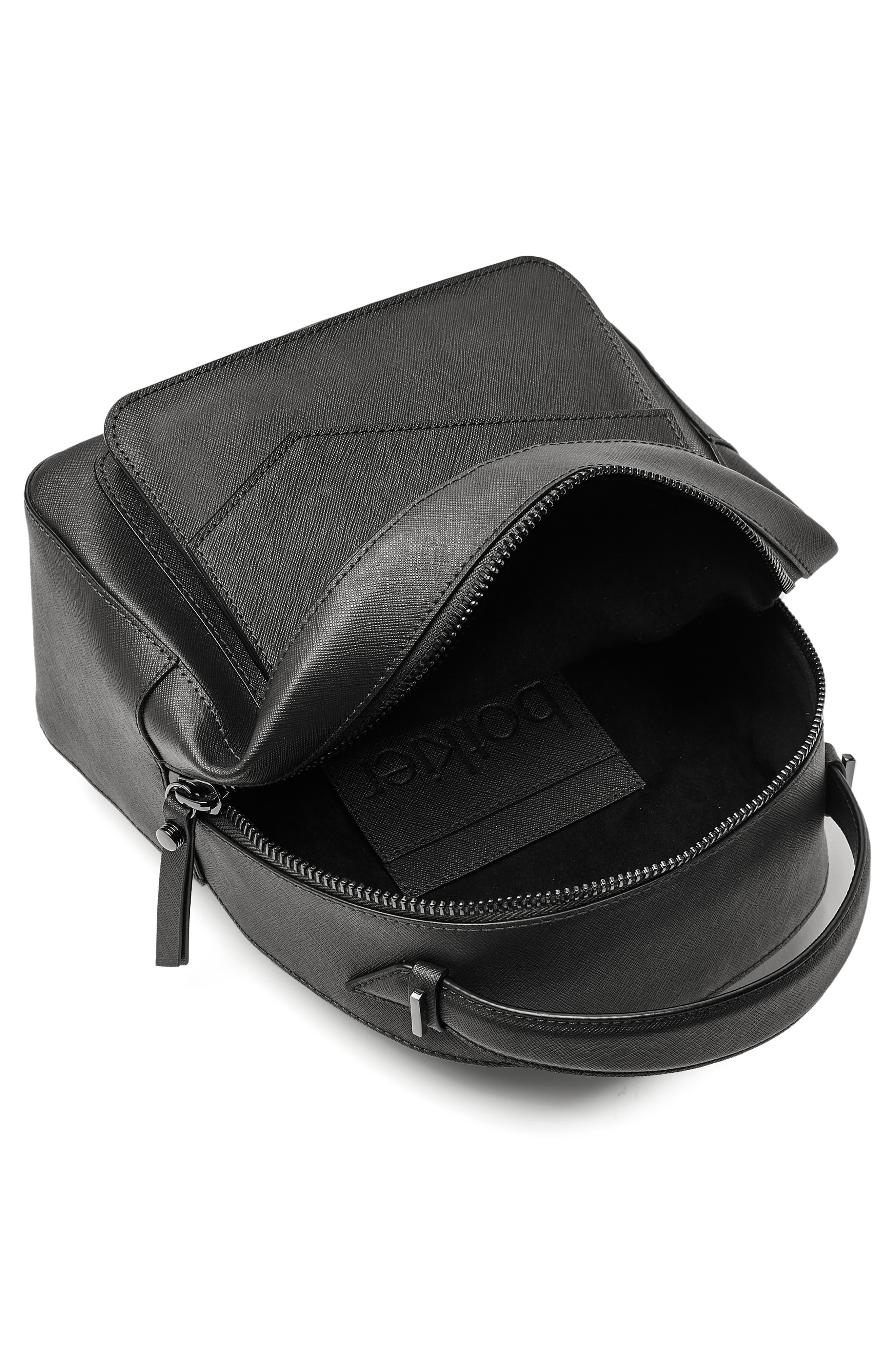 Cobble Hill Calfskin Leather Backpack,                             Alternate thumbnail 3, color,                             BLACK