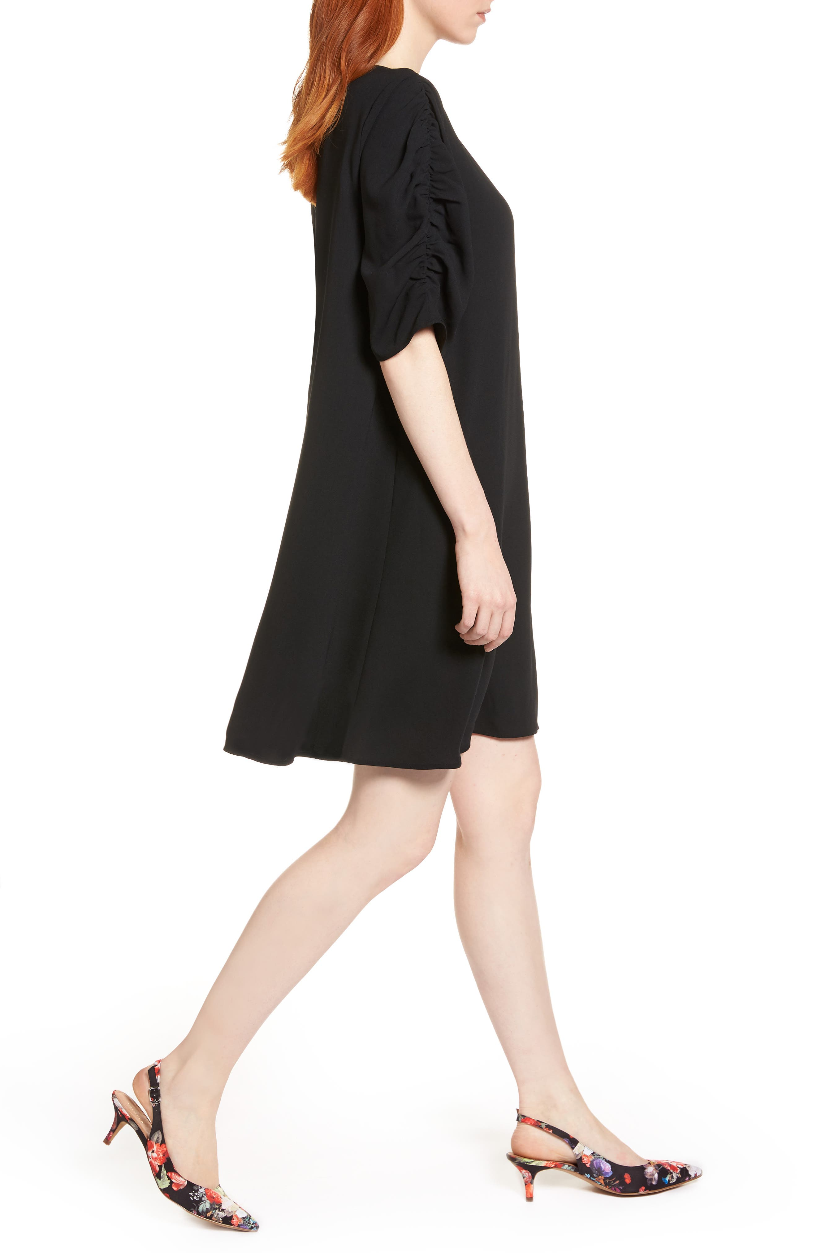 Ruched Sleeve Crepe Dress,                             Alternate thumbnail 3, color,                             001