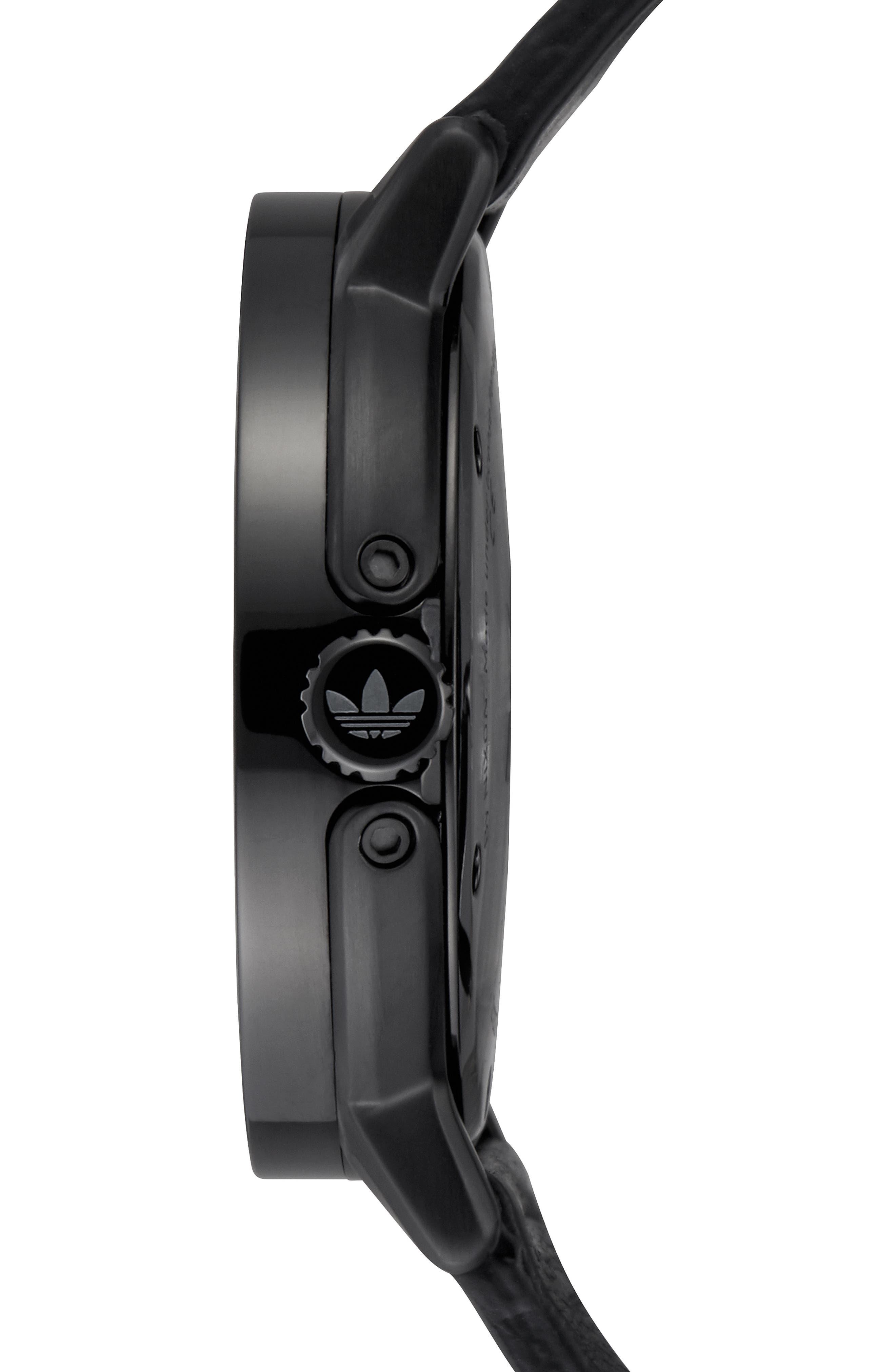 ADIDAS,                             District Leather Strap Watch, 40mm,                             Alternate thumbnail 3, color,                             BLACK/ ORANGE/ BLACK