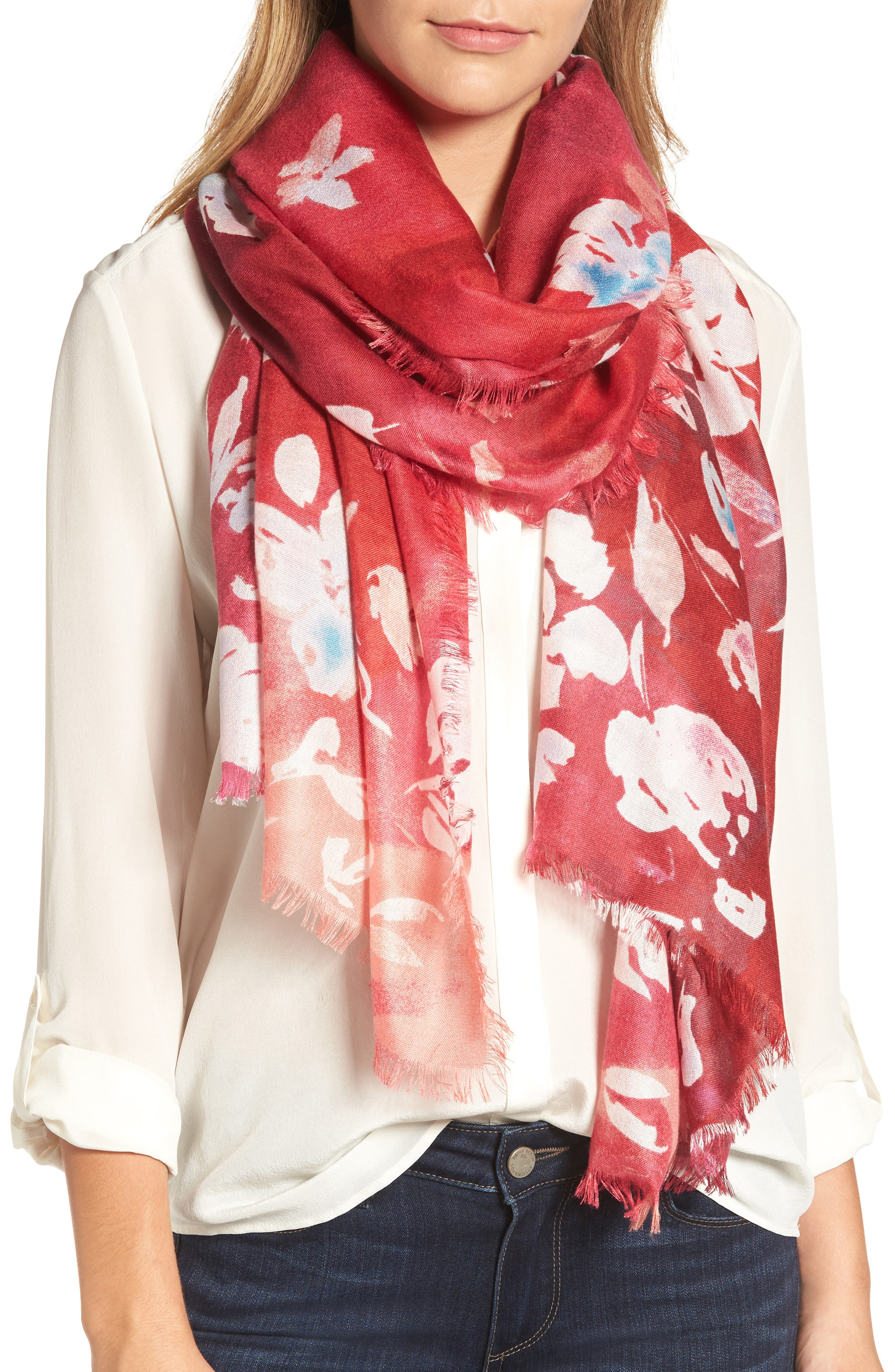 Musical Flower Cashmere & Silk Scarf,                             Main thumbnail 3, color,